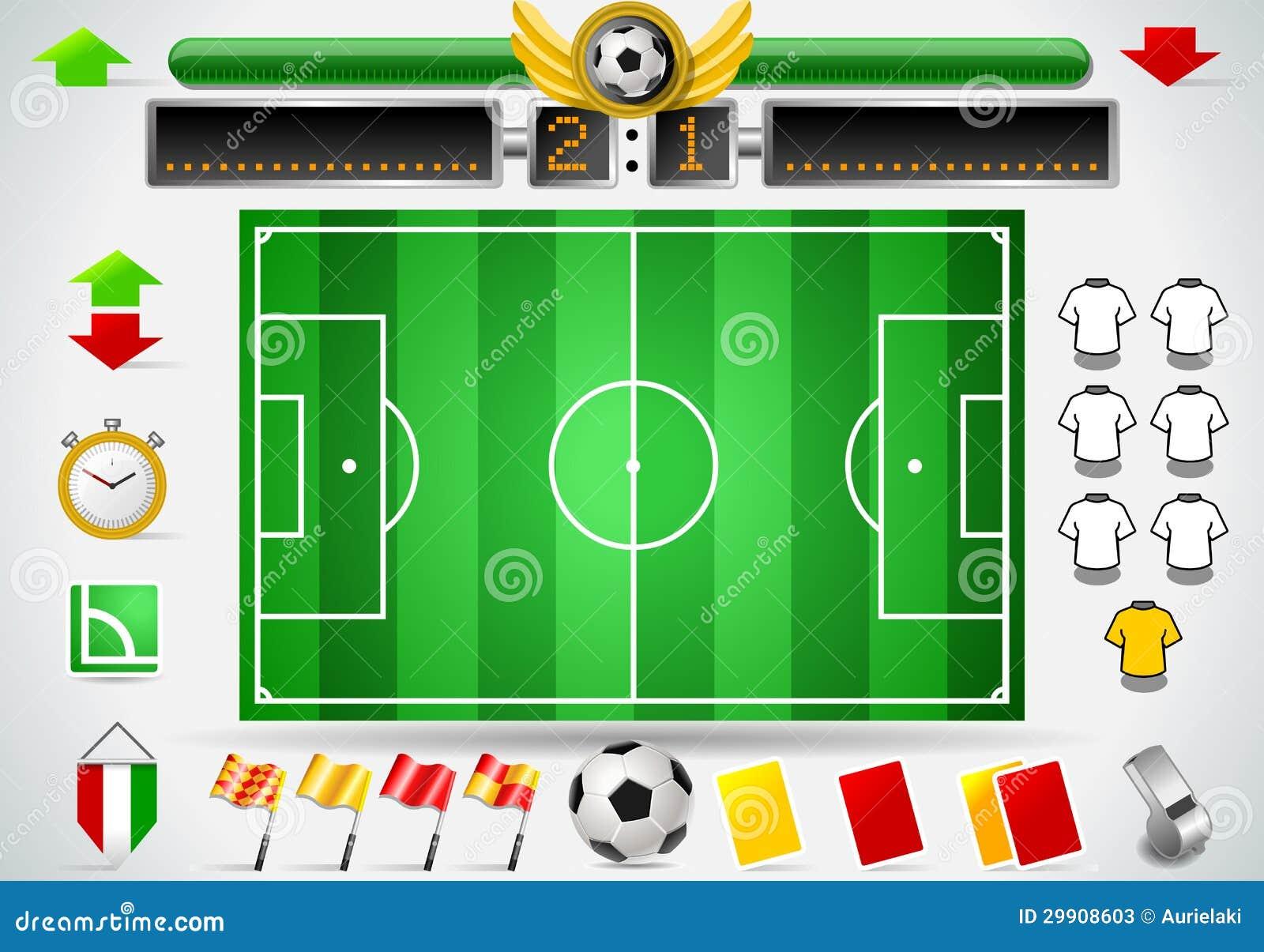 Grupo do gráfico da informação de campo e de ícones de futebol