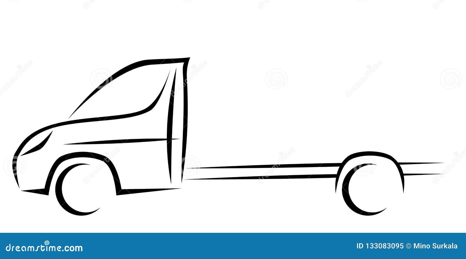 Ilustração dinâmica do vetor de um vehicla comercial claro com um chassi sem uma caixa