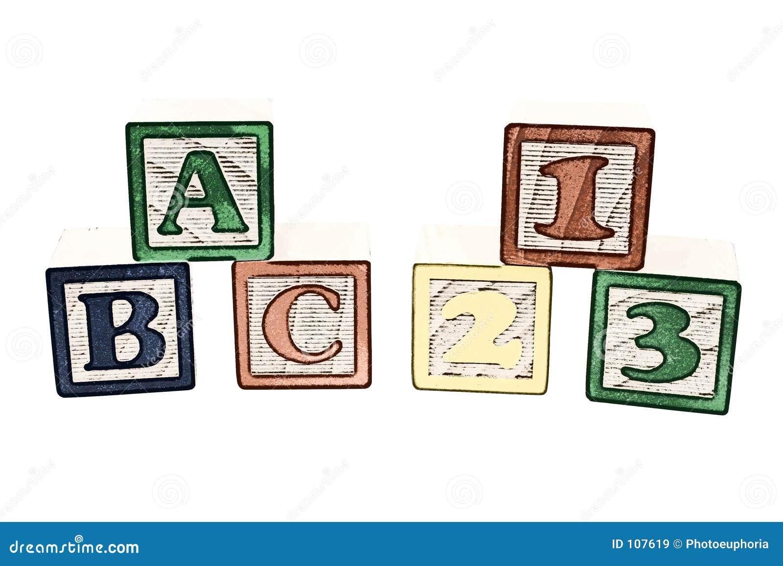 Ilustração do ABC e dos 123 blocos