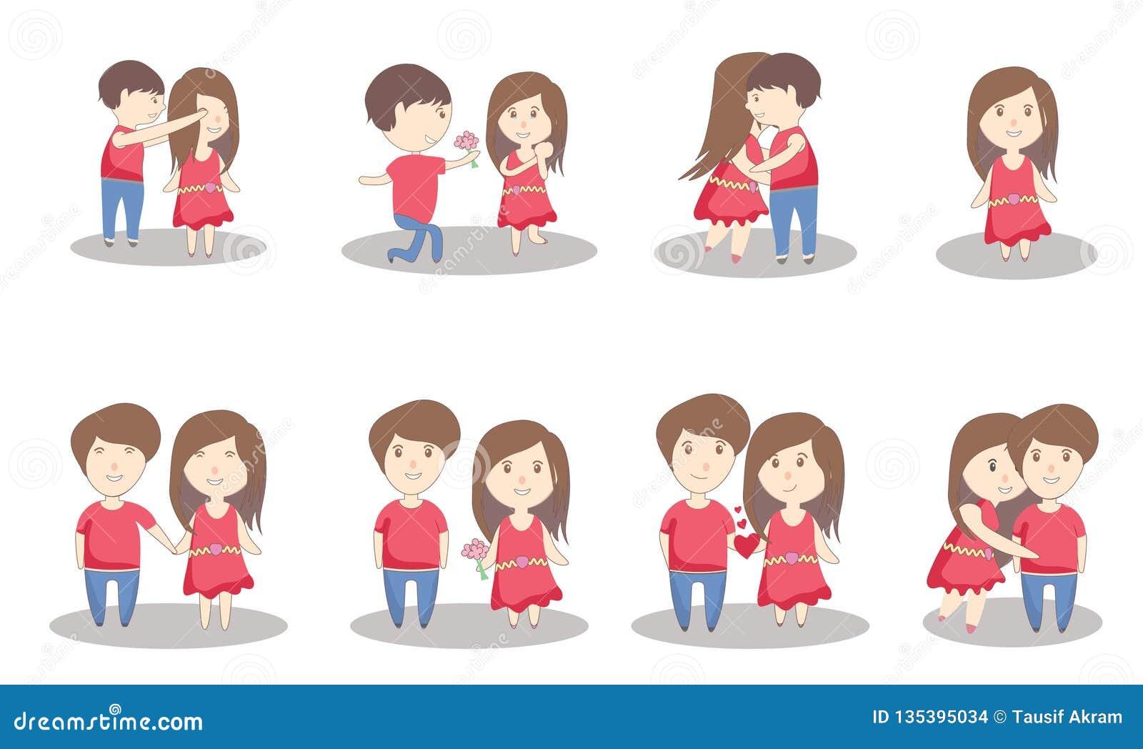 Ilustração do amor dos pares do dia de Valentim com marido e Esposa-vetor do coração