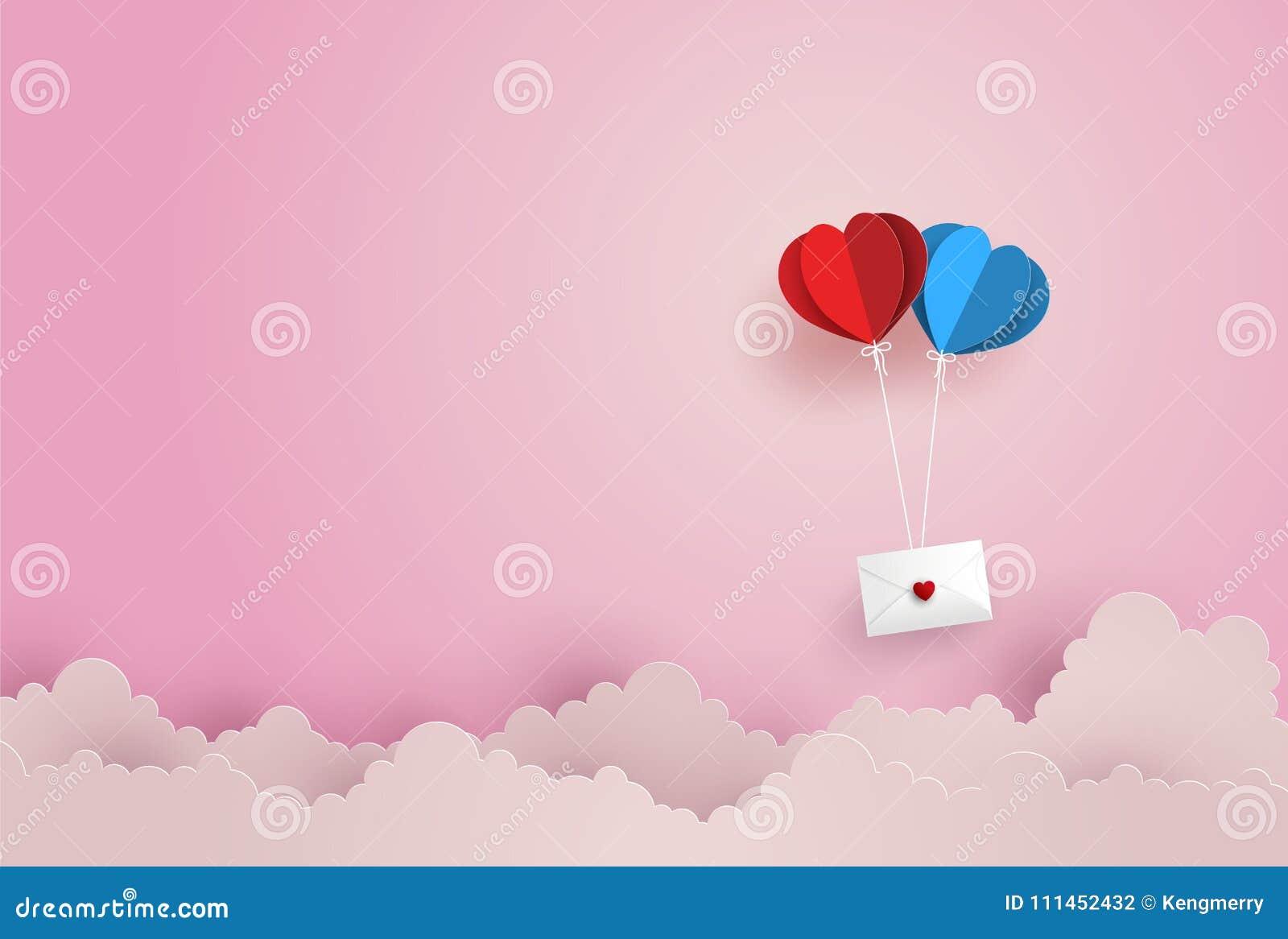 Ilustração do amor e do Valentine Day, envelope de papel gêmeo do cair da forma do coração do balão de ar quente que flutua no cé