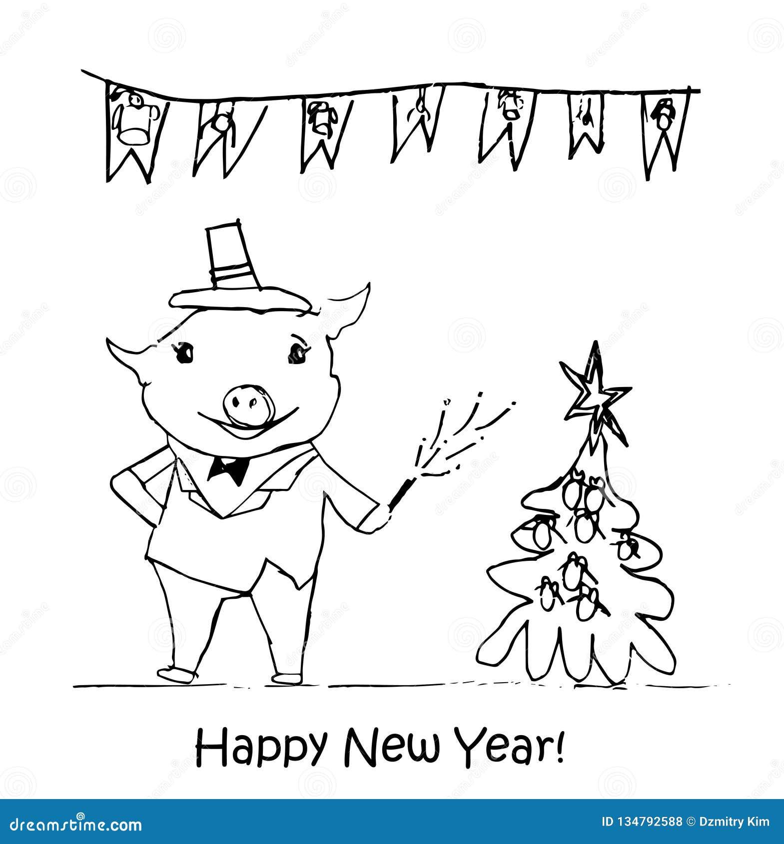 Ilustração do ano novo Os desenhos das crianças com giz preto em um fundo branco Árvore de Natal, brinquedos da pele-árvore, doce