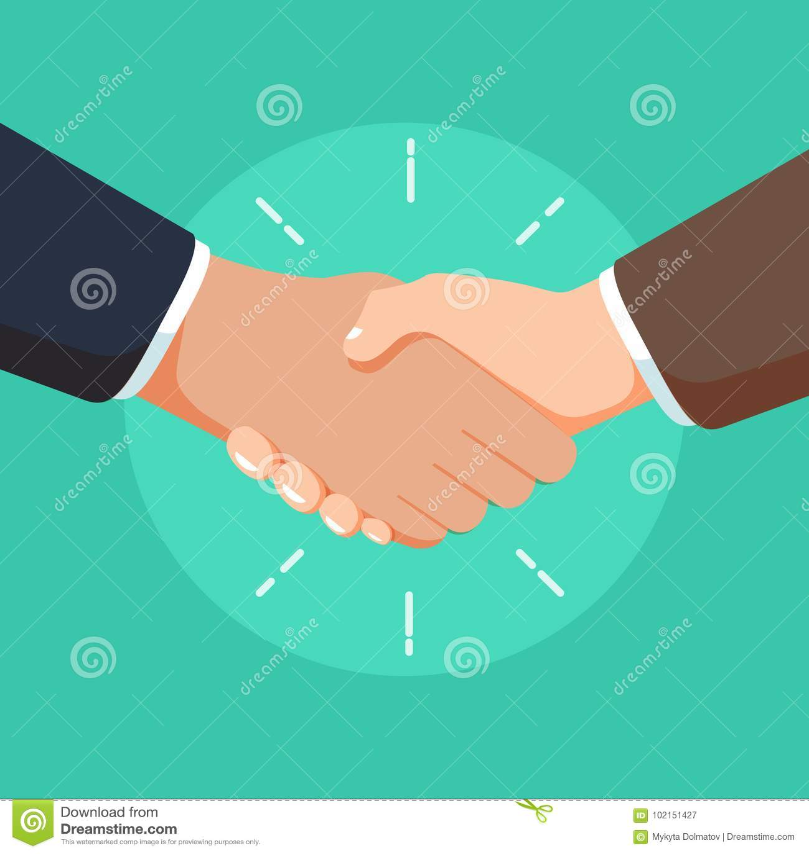 Ilustração do aperto de mão da parceria do negócio Sinal do negócio ou povos robustos do acordo dos homens de negócios