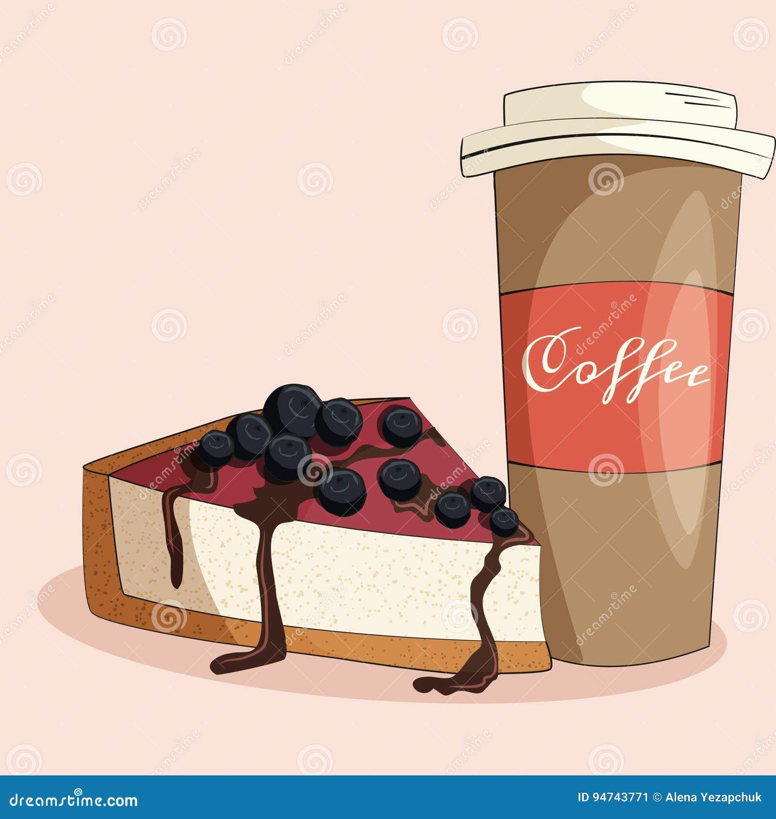 Ilustração do café e do bolo