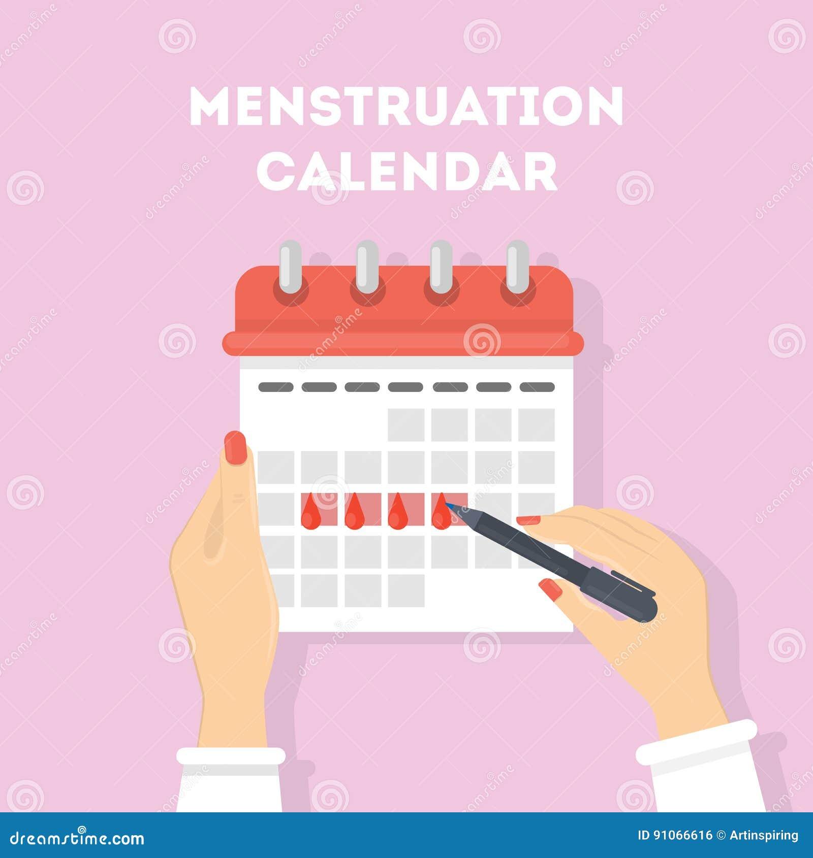 Ilustração do calendário da menstruação