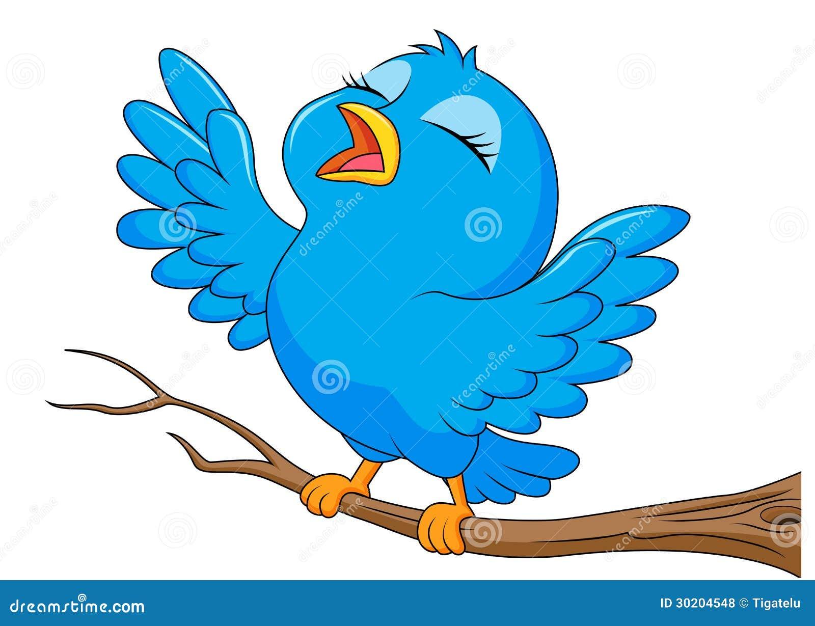 canto azul dos desenhos animados do pássaro ilustração do vetor