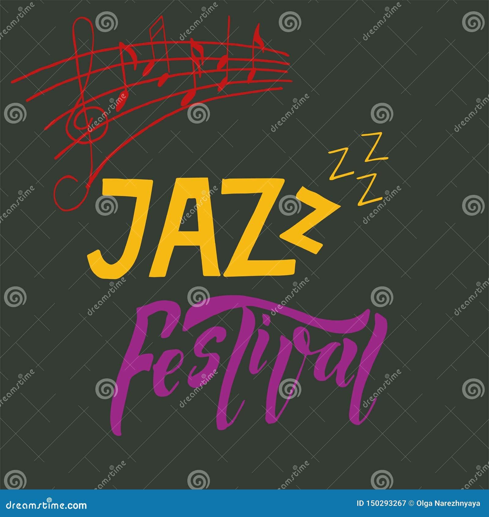 Ilustração do cartaz da bandeira do festival de música jazz com clave de sol e notas