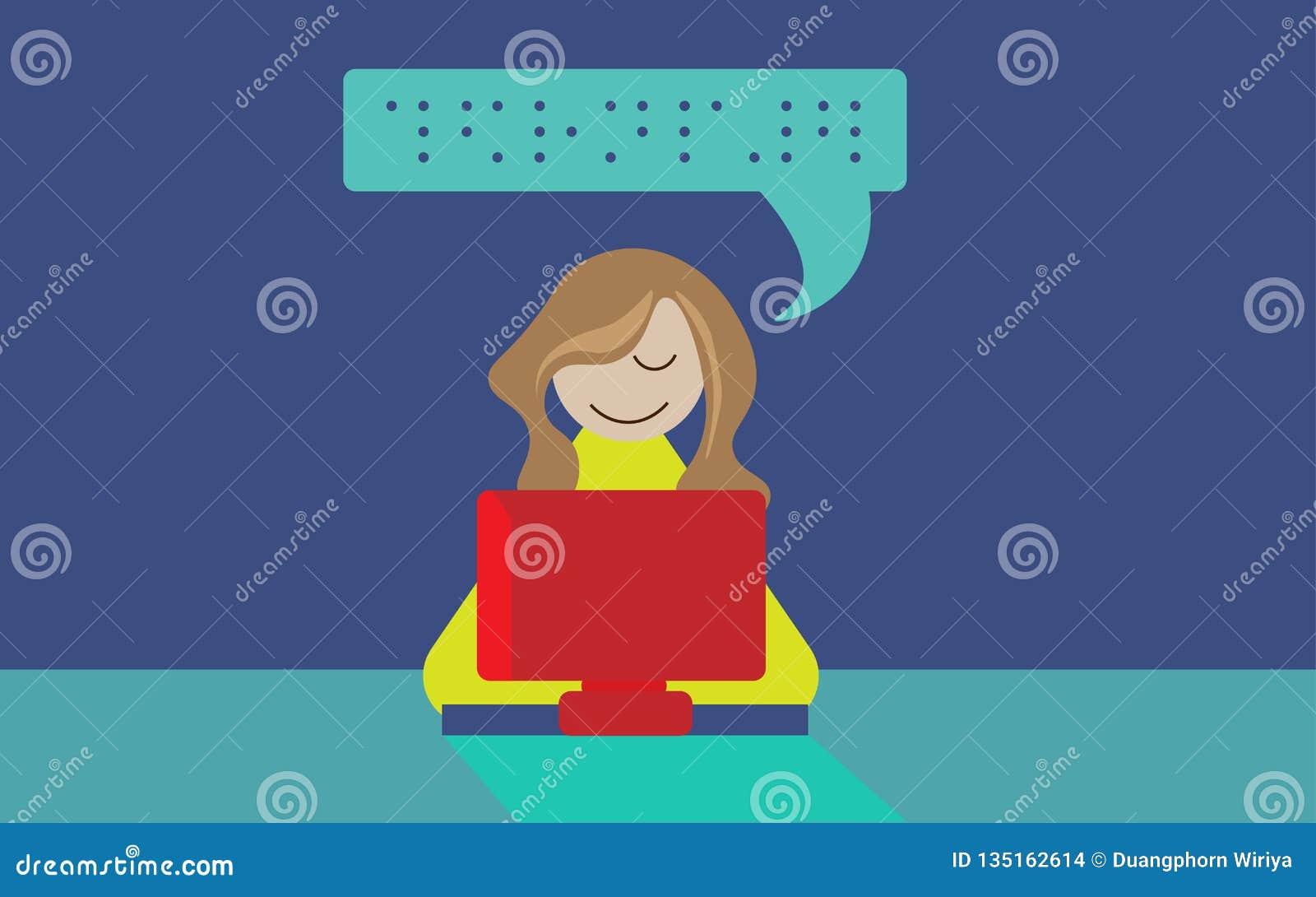 Ilustração do computador do braile do uso da pessoa cega