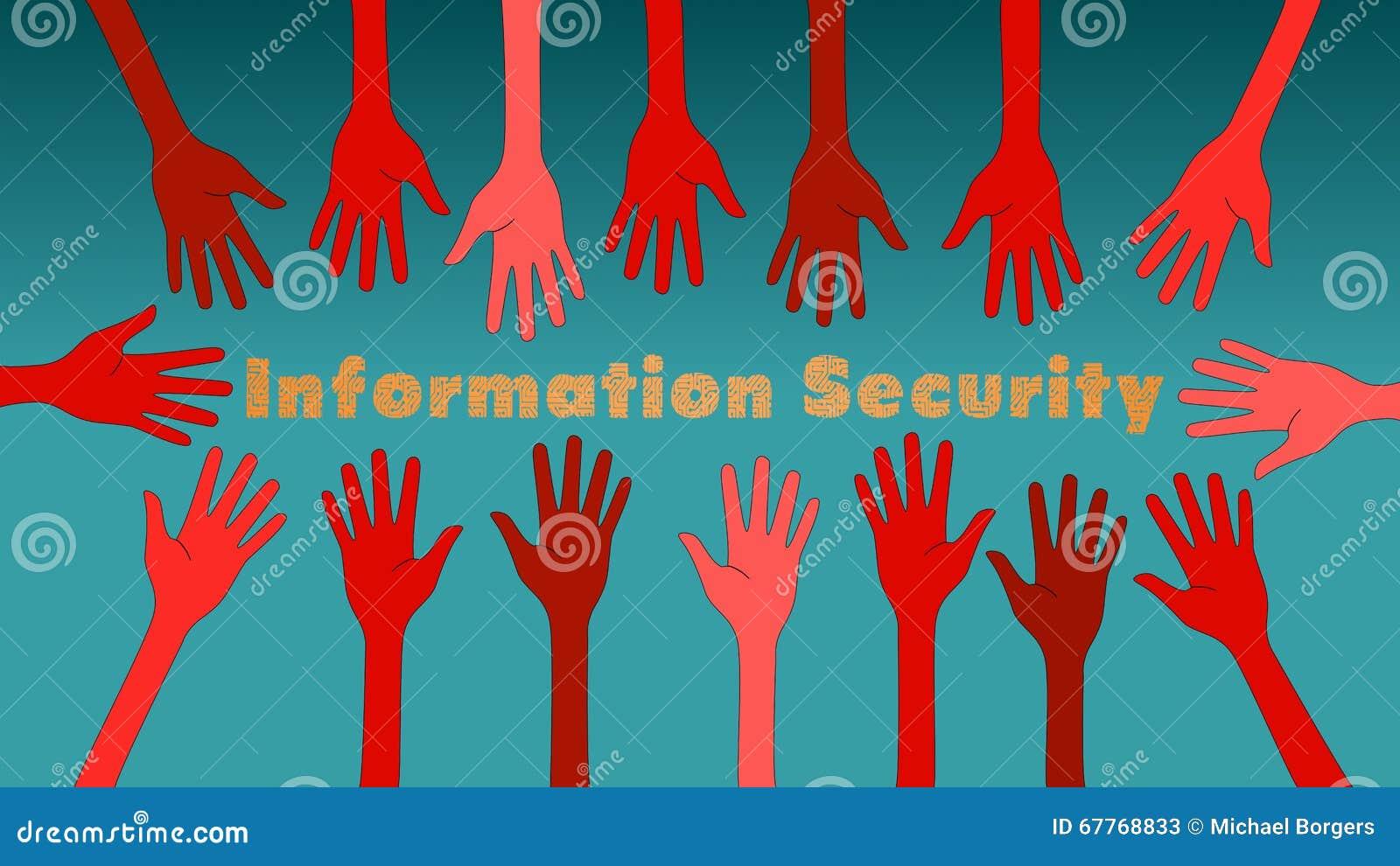 Ilustração do conceito das ameaças da segurança da informação com mãos vermelhas