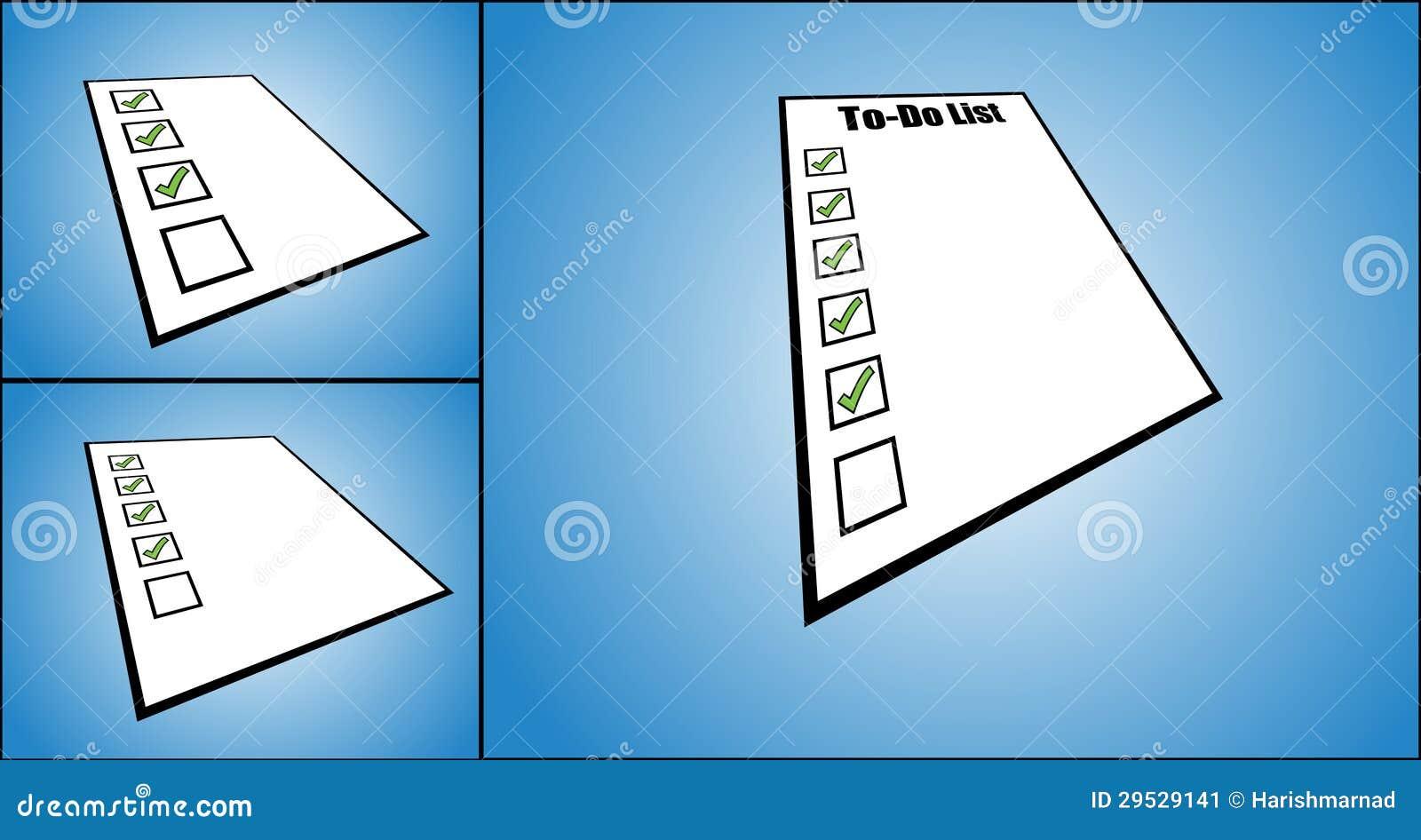 Ilustração do conceito de para fazer a lista ou a lista de tarefa