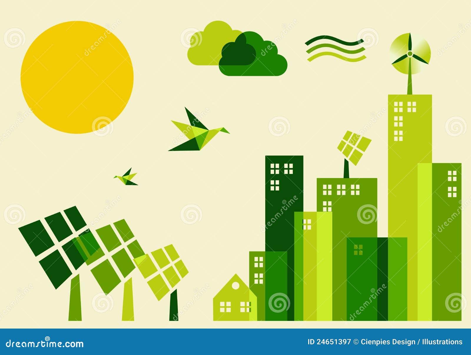 Ilustração do conceito do desenvolvimento sustentável da cidade
