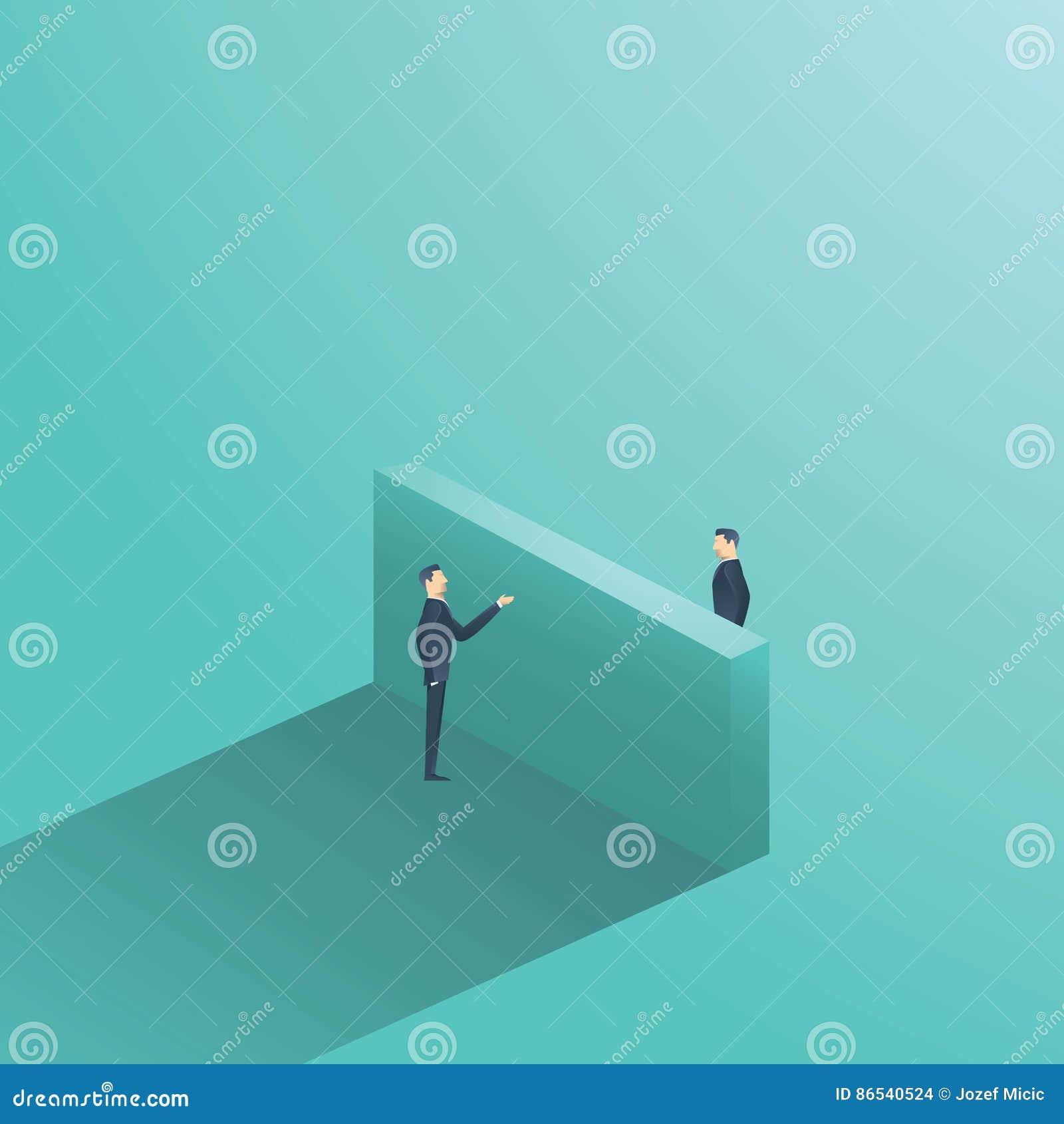Ilustração do conceito do vetor da negociação do negócio com o homem de negócios dois que tem a conversação sobre a parede Símbol