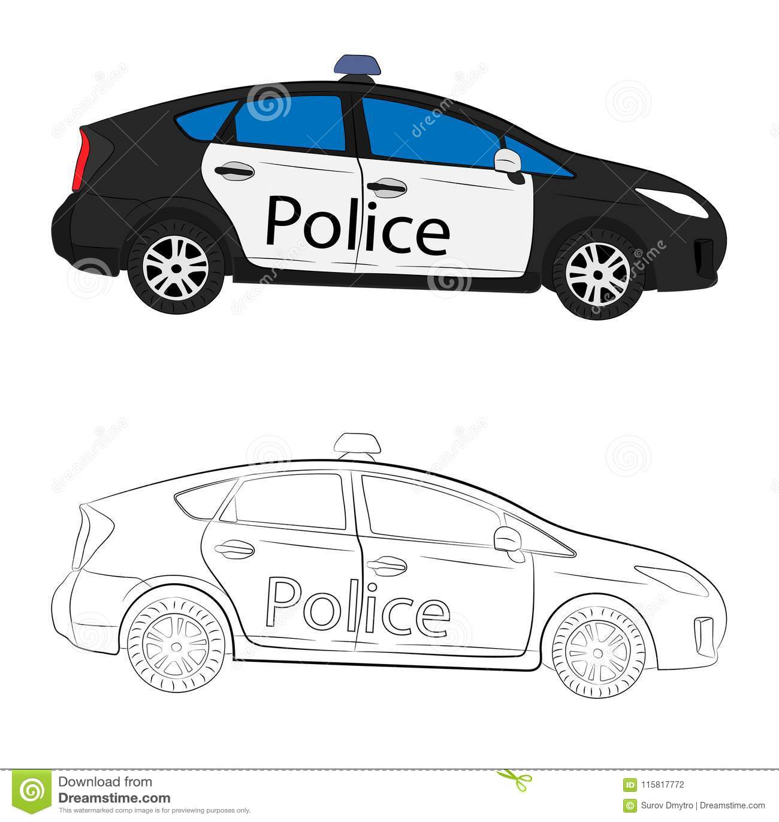 Ilustracao Do Desenho Do Carro De Policia Ilustracao Stock