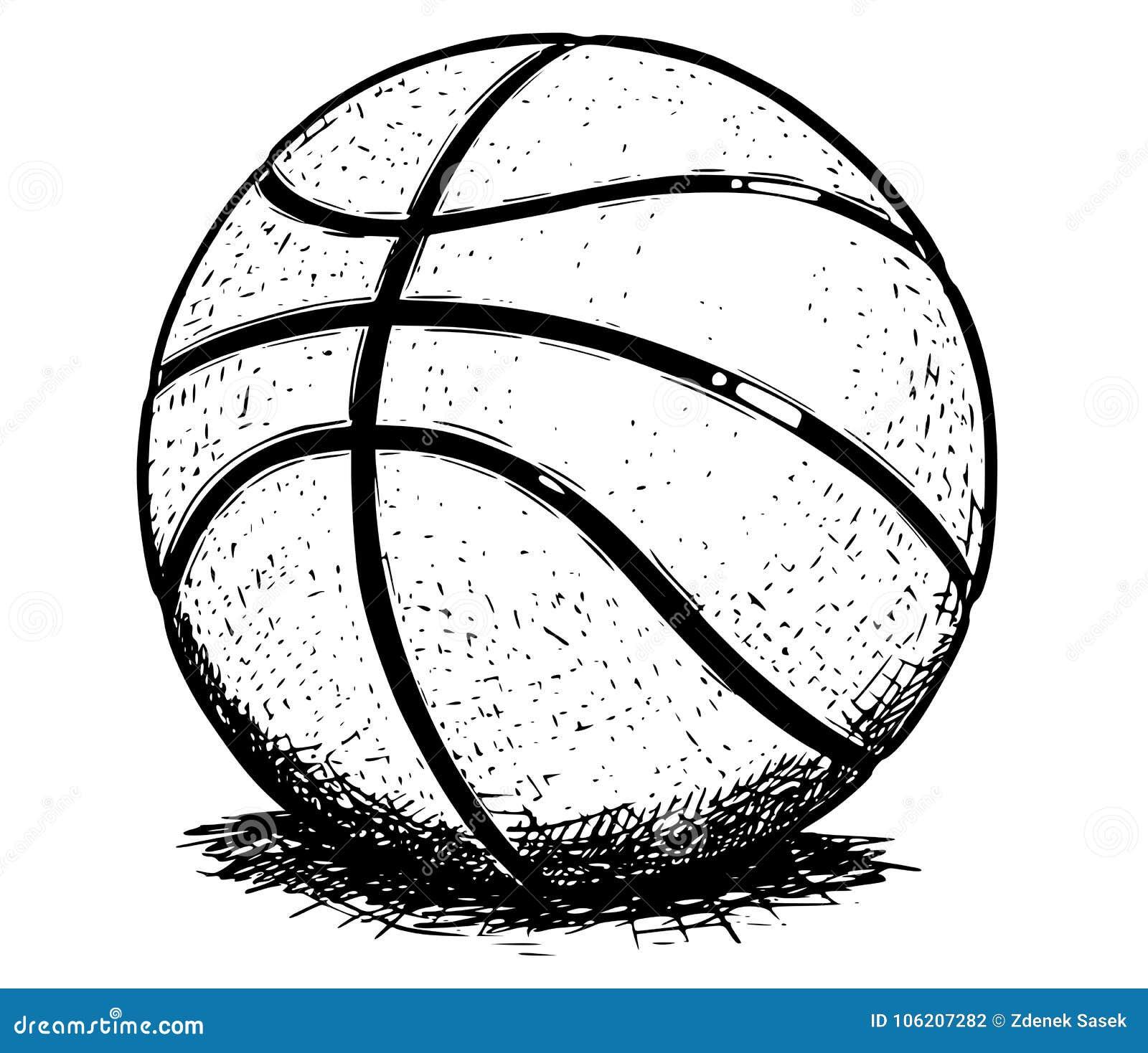 ilustração do desenho da mão do vetor da bola do basquetebol