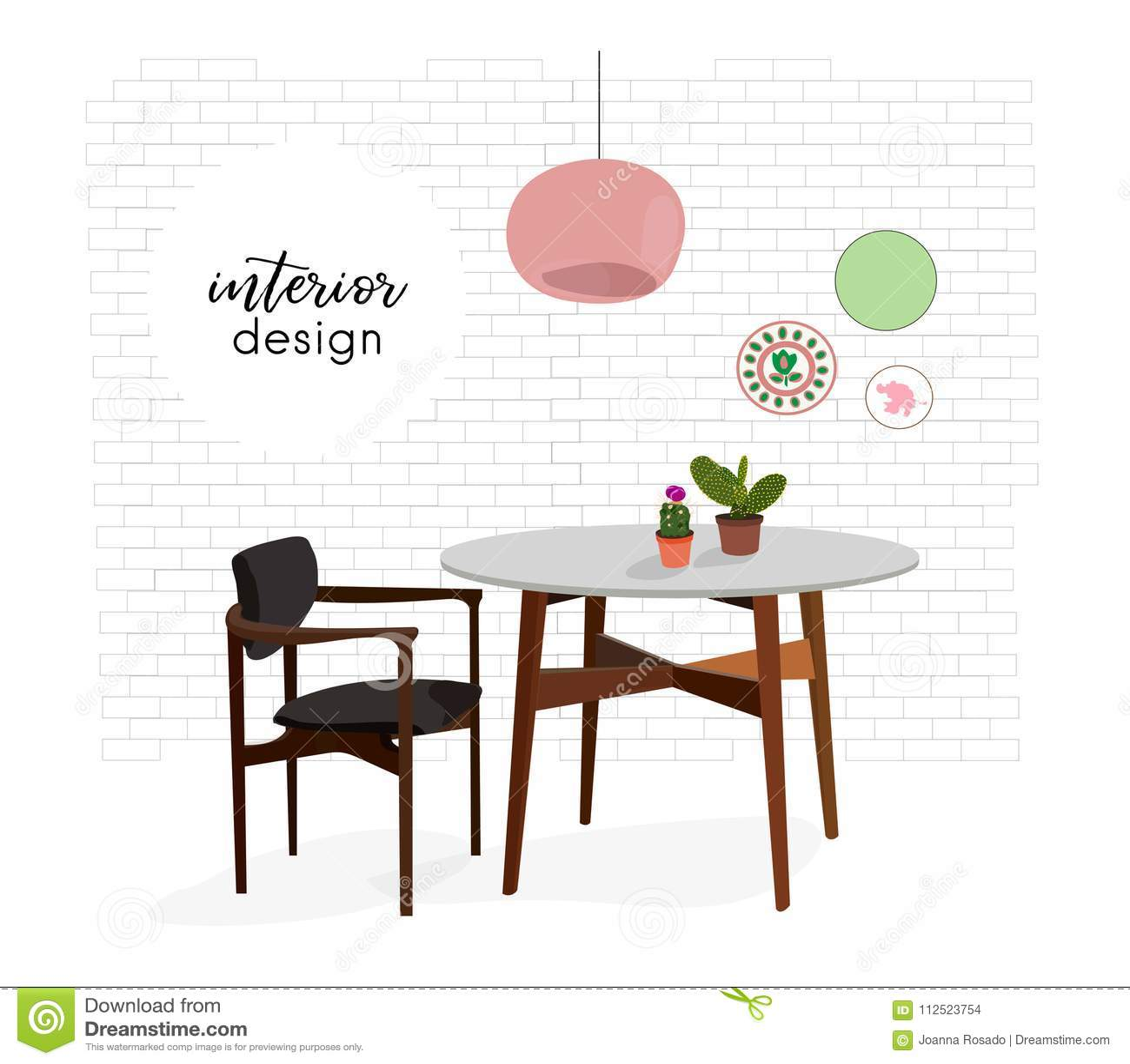 Image of: Ilustracao Do Design De Interiores Do Vetor Mobilia Da Cozinha Da Sala De Jantar Tabela Da Cadeira Decoracao Home Da Decoracao Da Ilustracao Do Vetor Ilustracao De Jantar Interiores 112523754