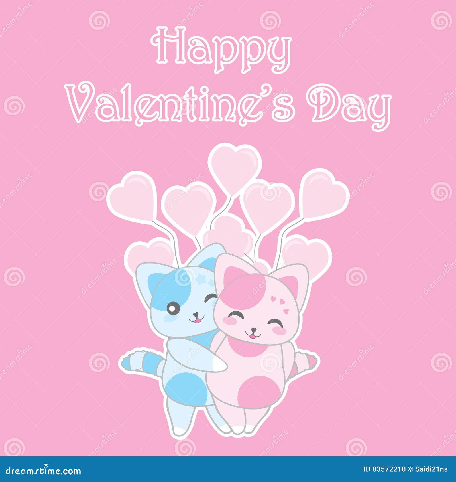 A ilustração do dia do ` s do Valentim com os gatos azuis e cor-de-rosa bonitos no rosa balloons o fundo