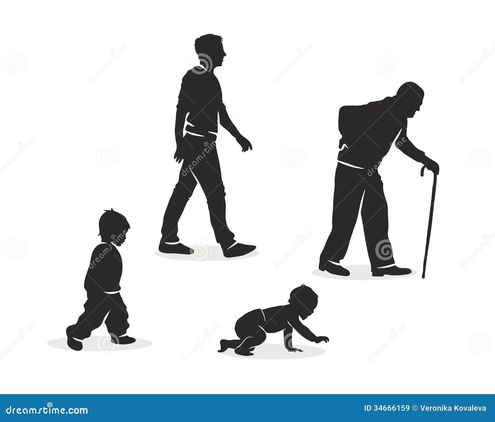 Ilustração do envelhecimento humano.