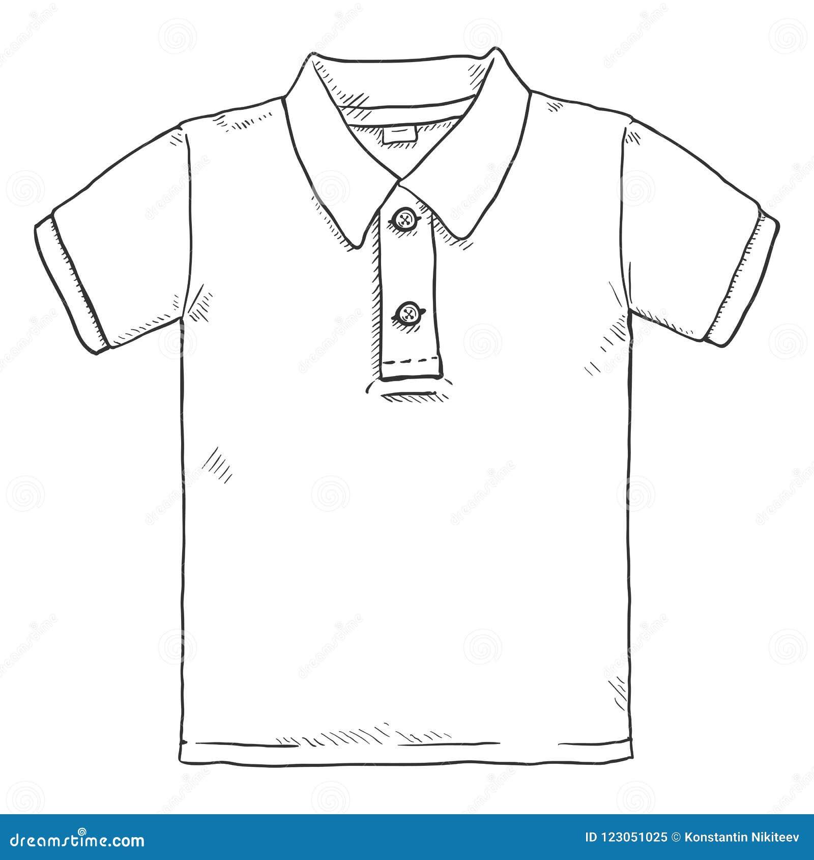 49dc50a25b78f Ilustração Do Esboço Do Vetor única - Polo Shirt Ilustração Stock ...