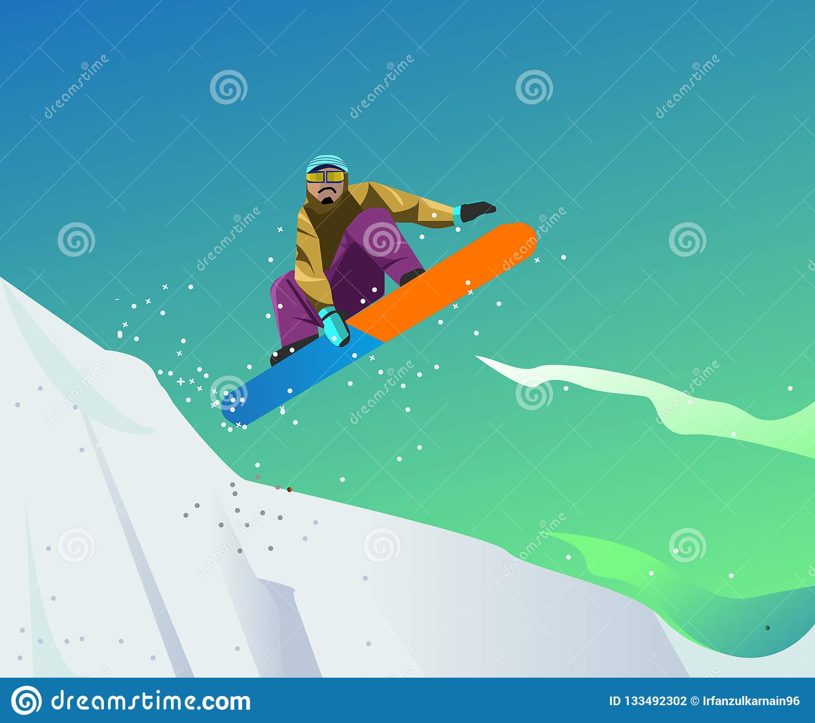 Ilustração do esporte da snowboarding com estilo do vetor