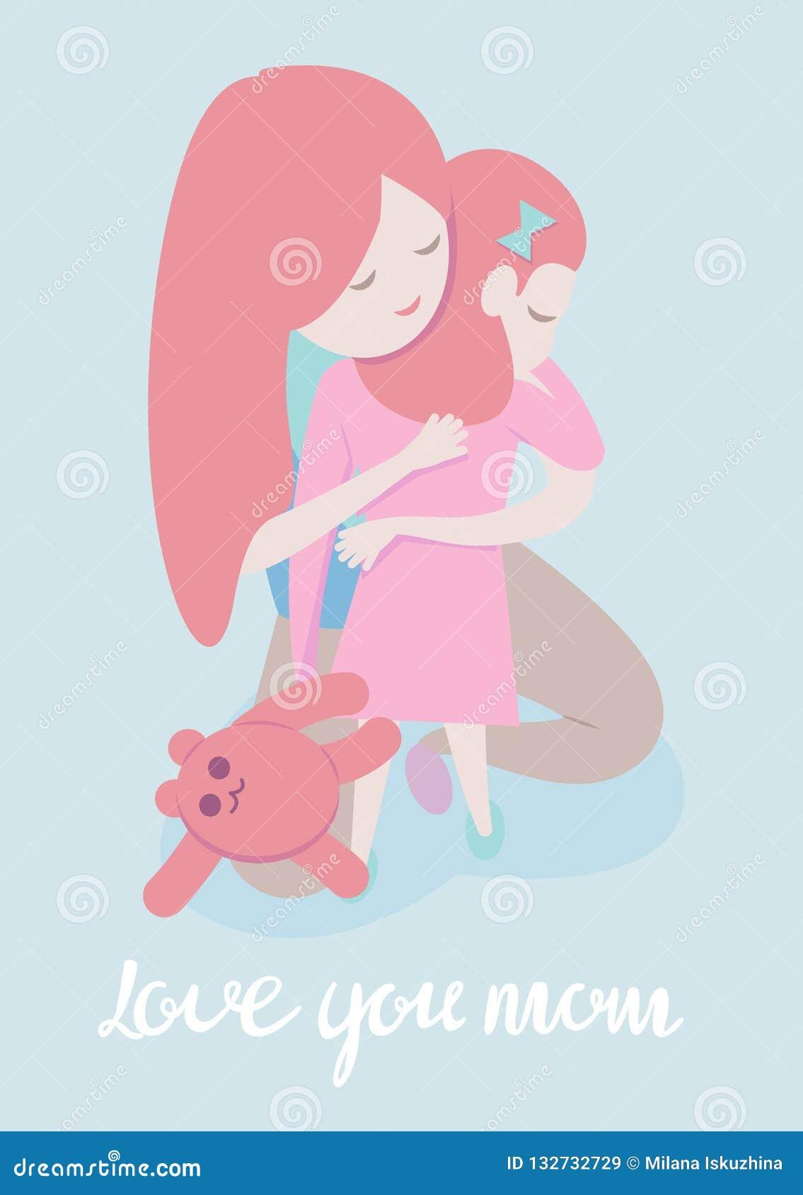 Ilustração do estilo dos desenhos animados do vetor da mãe que abraça a filha Molde do cartão do dia de mãe no fundo azul