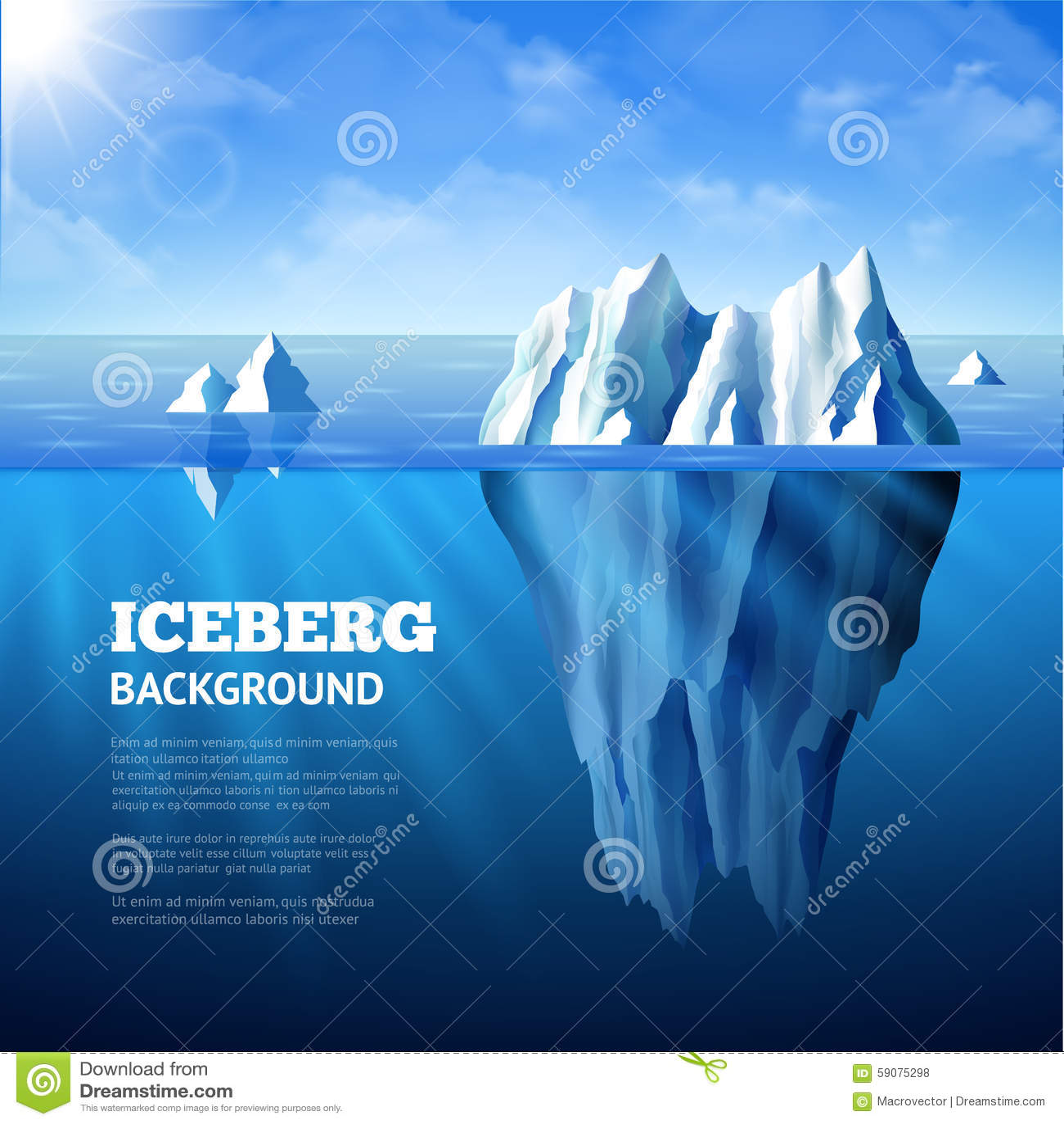 Ilustração do fundo do iceberg
