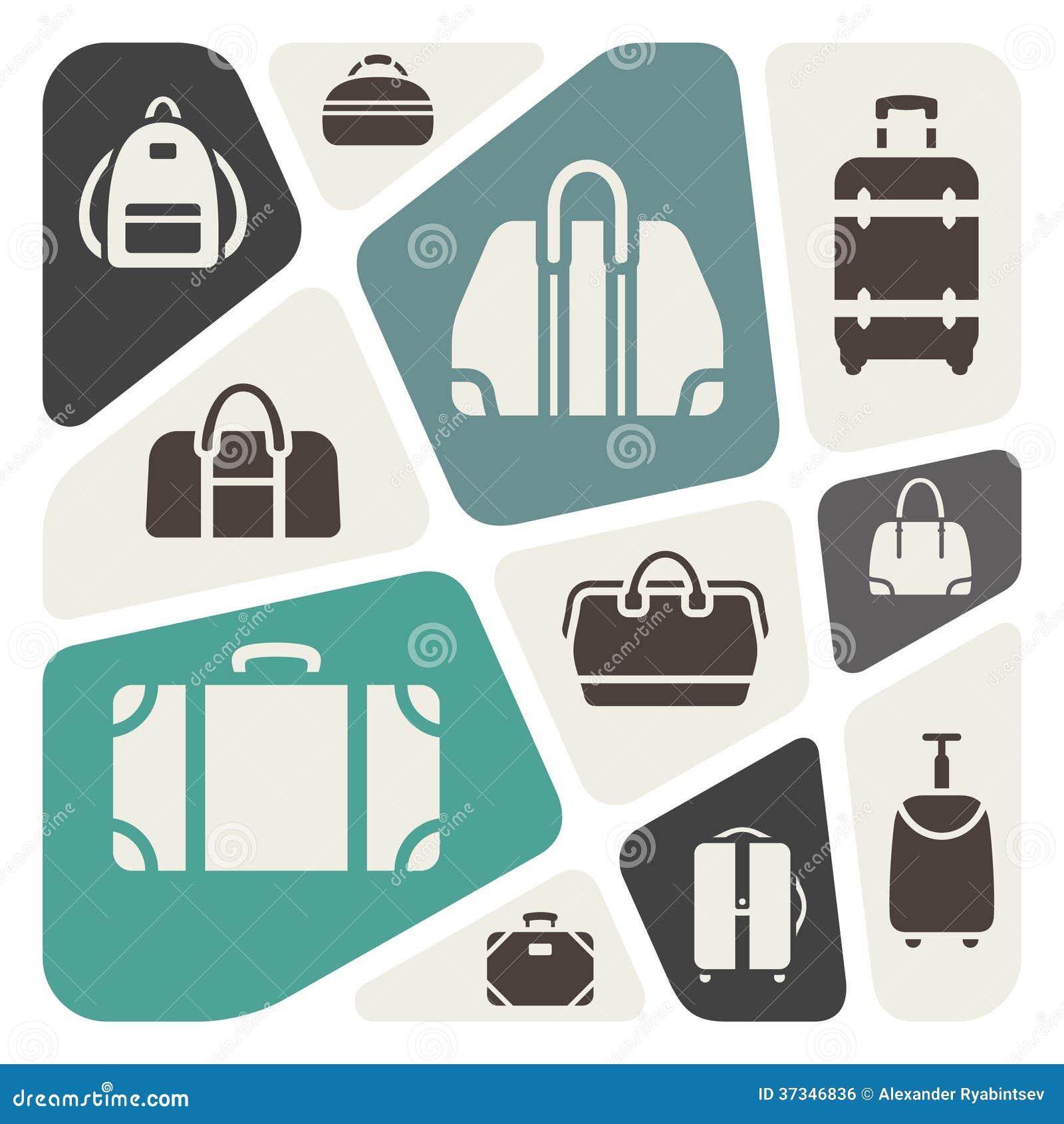 Ilustração do fundo dos ícones das malas de viagem