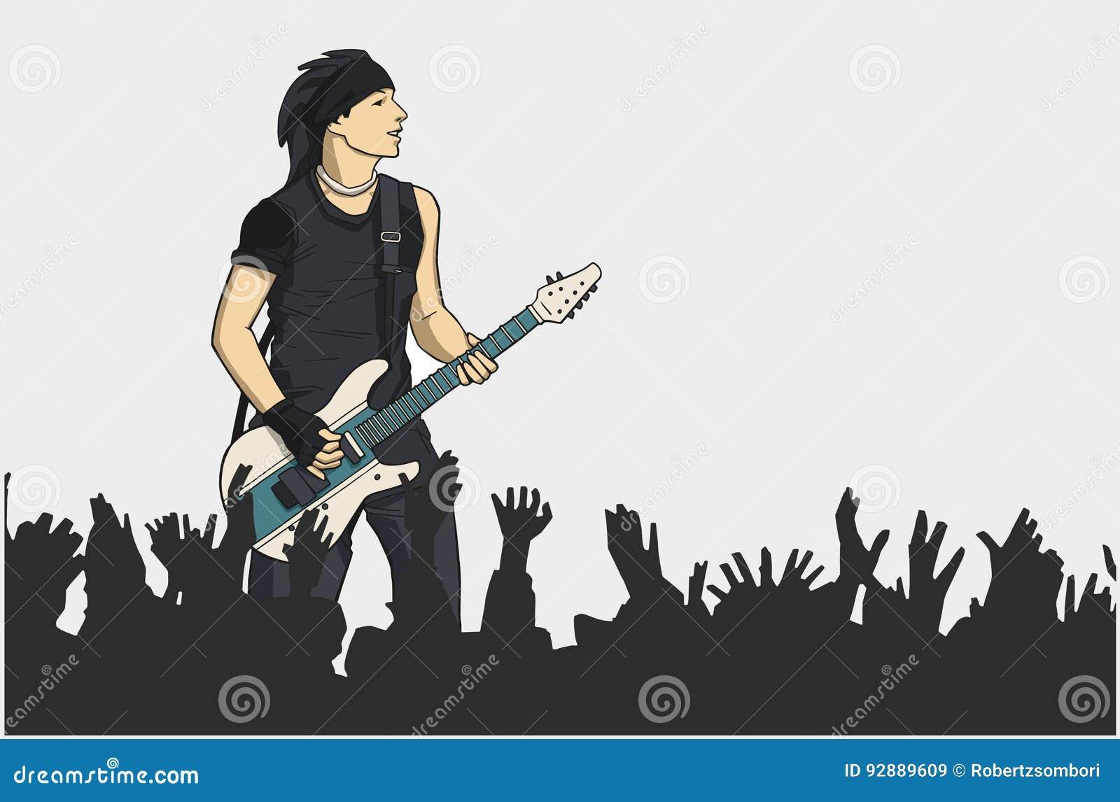 Ilustração do guitarrista que executa na fase