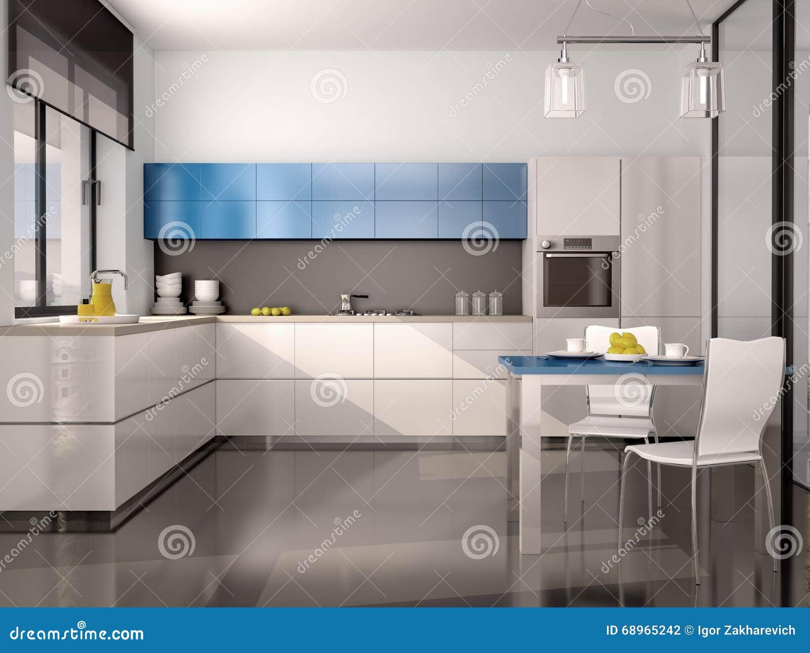 Ilustra O Do Interior Da Cozinha Moderna No Cinza Azul Branco