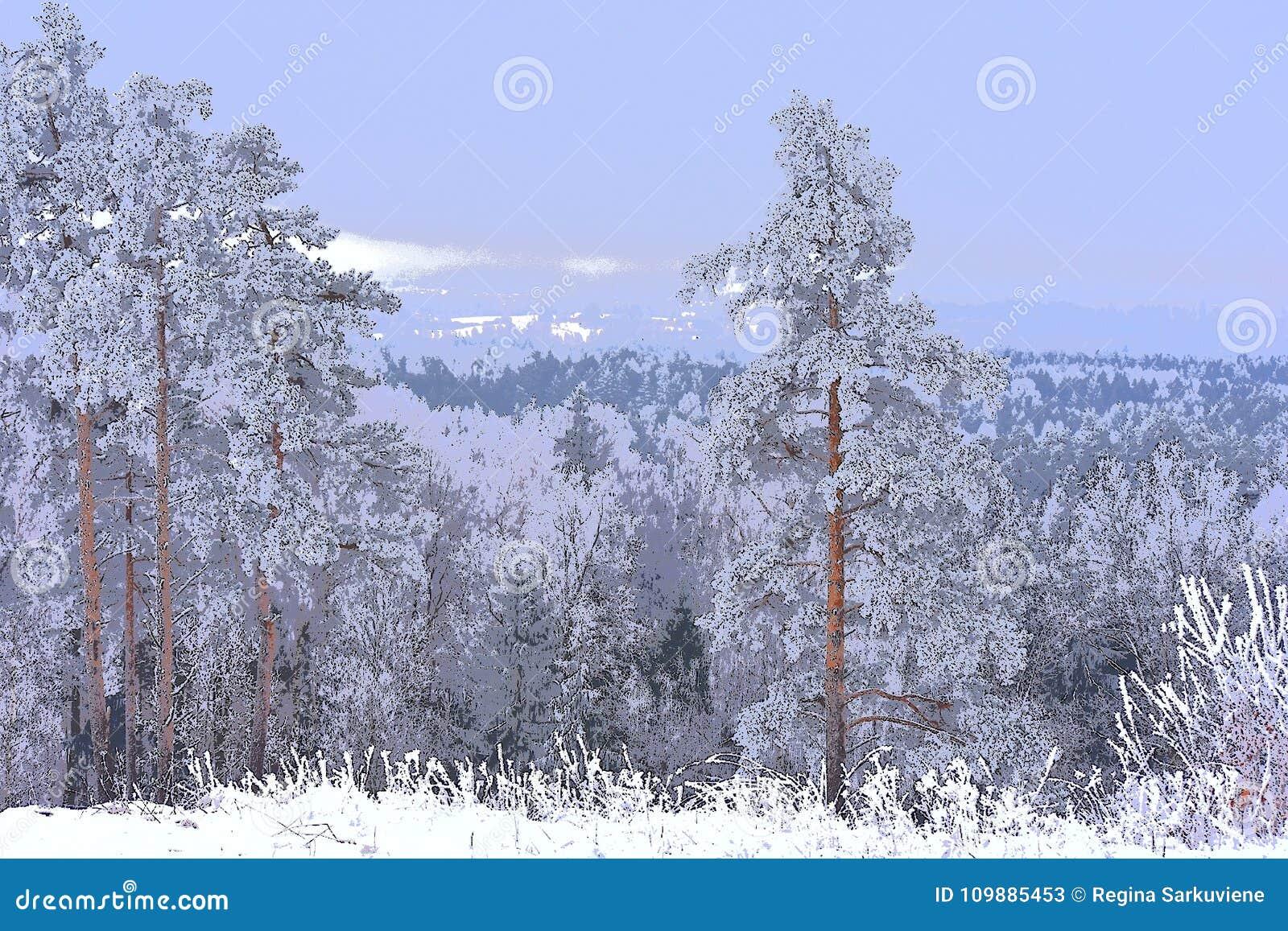 Ilustração do inverno artwork Vista do hillfort