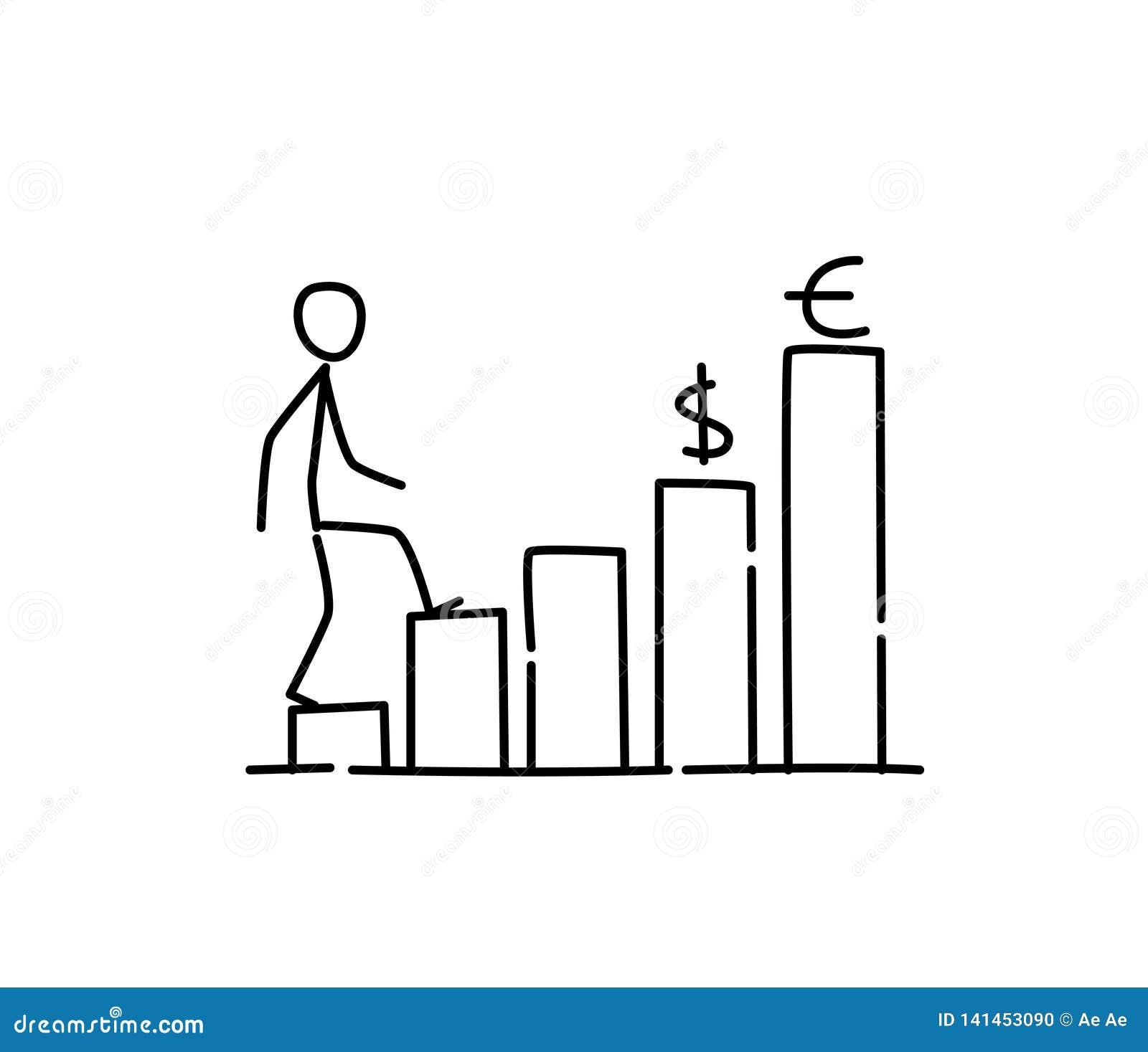 Ilustração do investimento financeiro do crescimento Vetor Avanço da carreira metaphor estilo linear Ilustração para o Web site o