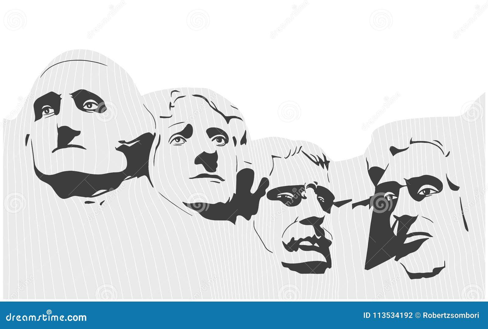 Ilustração do memorial nacional do Monte Rushmore em preto e branco