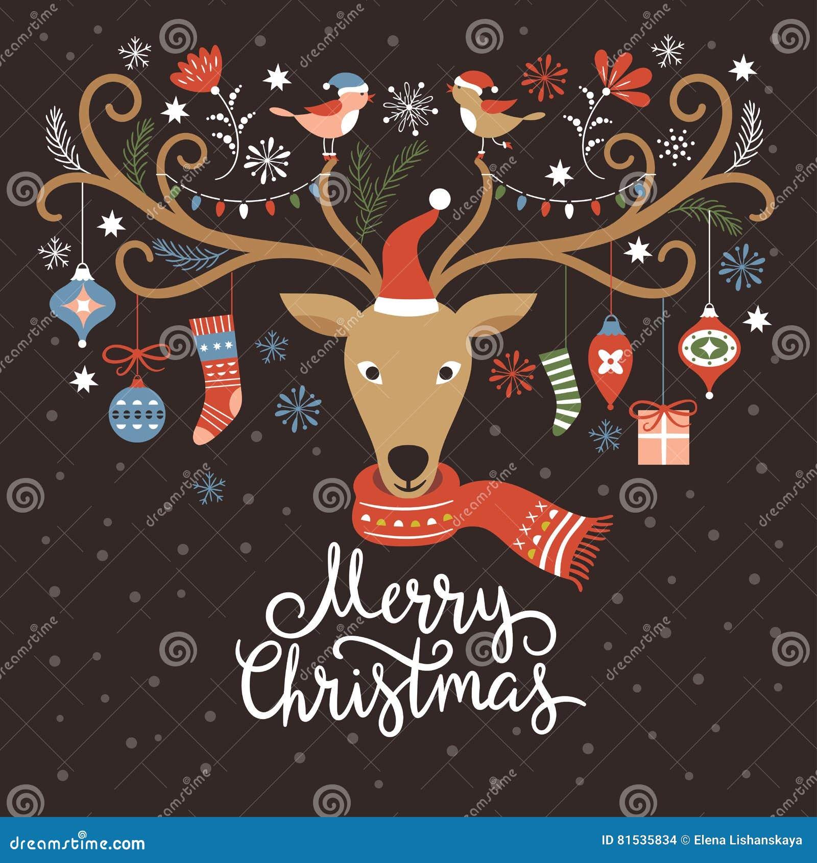 Ilustração do Natal, cartão de Natal