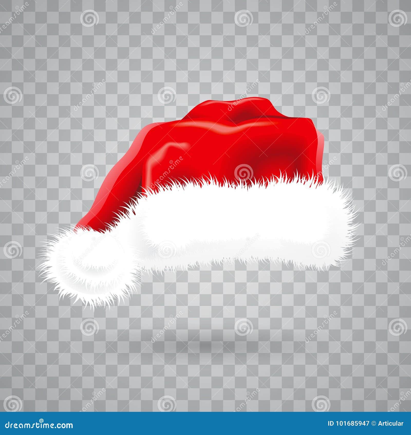 Ilustração do Natal com o chapéu vermelho de Santa no fundo transparente objeto isolado do vetor