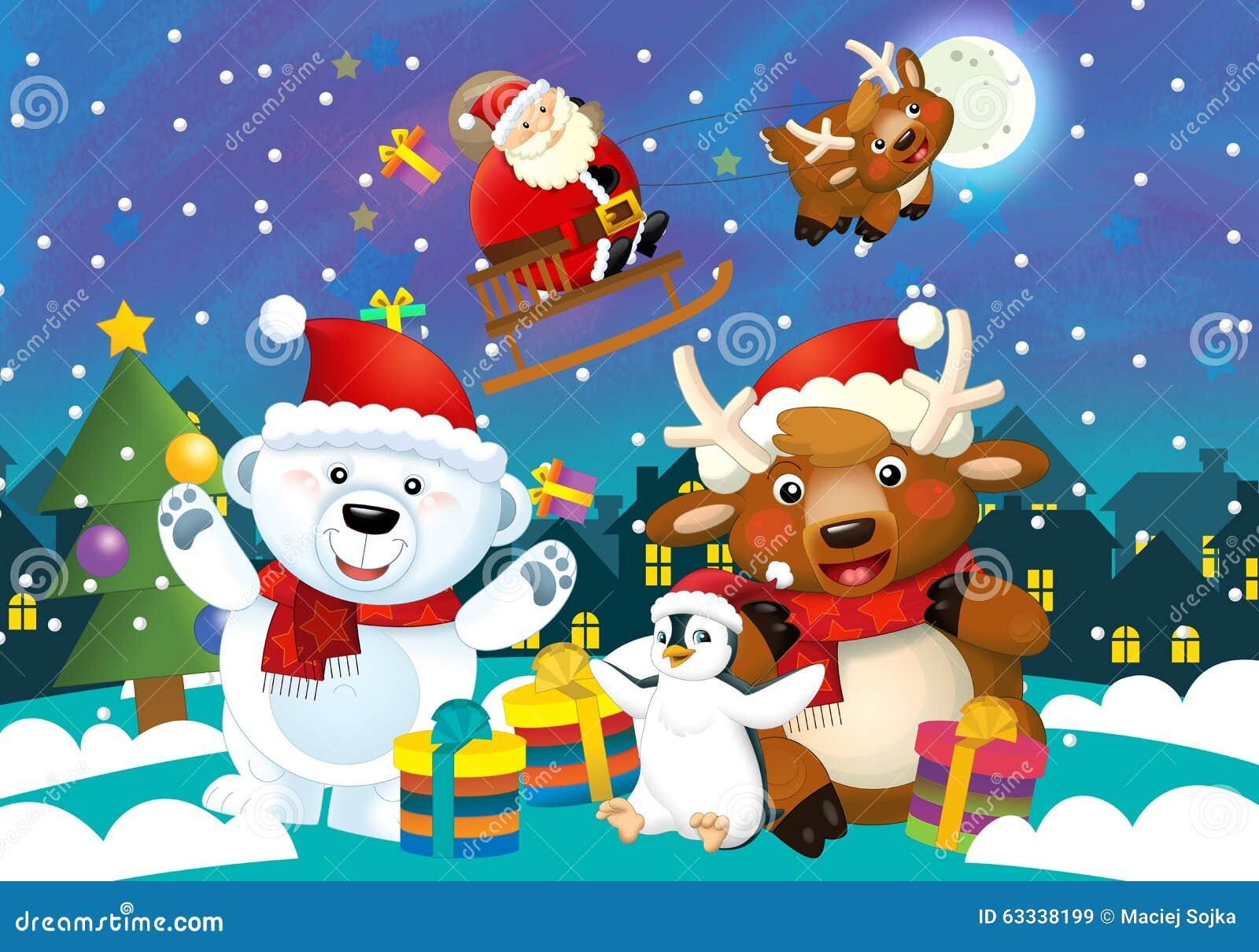 Ilustracao Do Natal Dos Desenhos Animados Com Papai Noel E Os