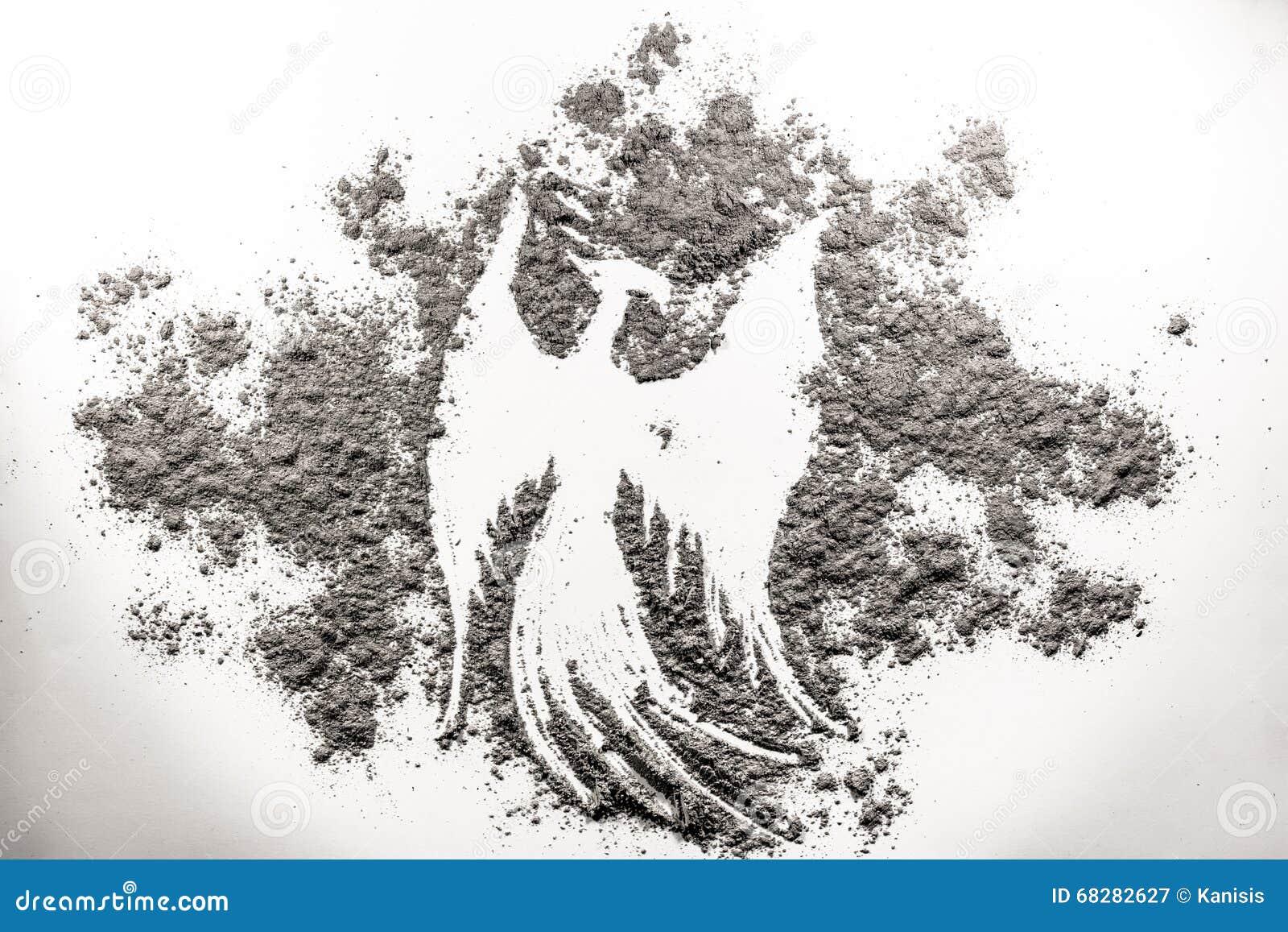 Ilustração do pássaro de Phoenix, renascimento na cinza
