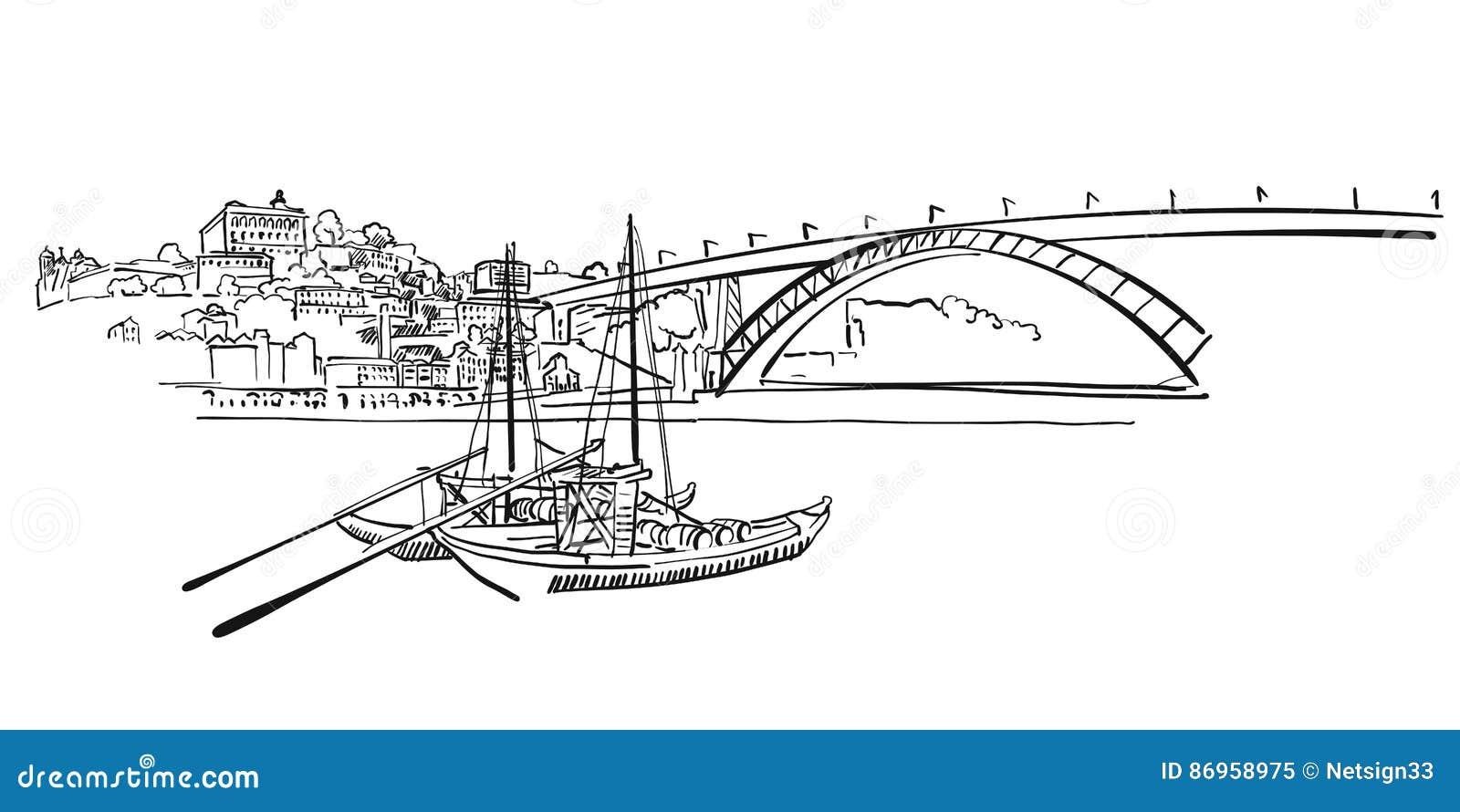 Ilustração do panorama da skyline de Porto