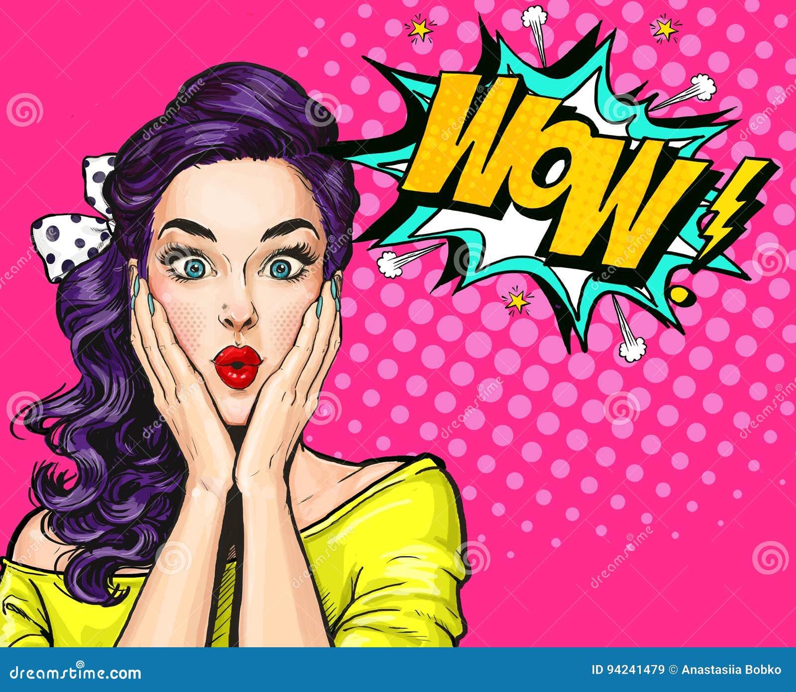 Ilustração do pop art, menina surpreendida Mulher cômica wow Anunciando o poster Menina do pop art Convite do partido Cartão do a