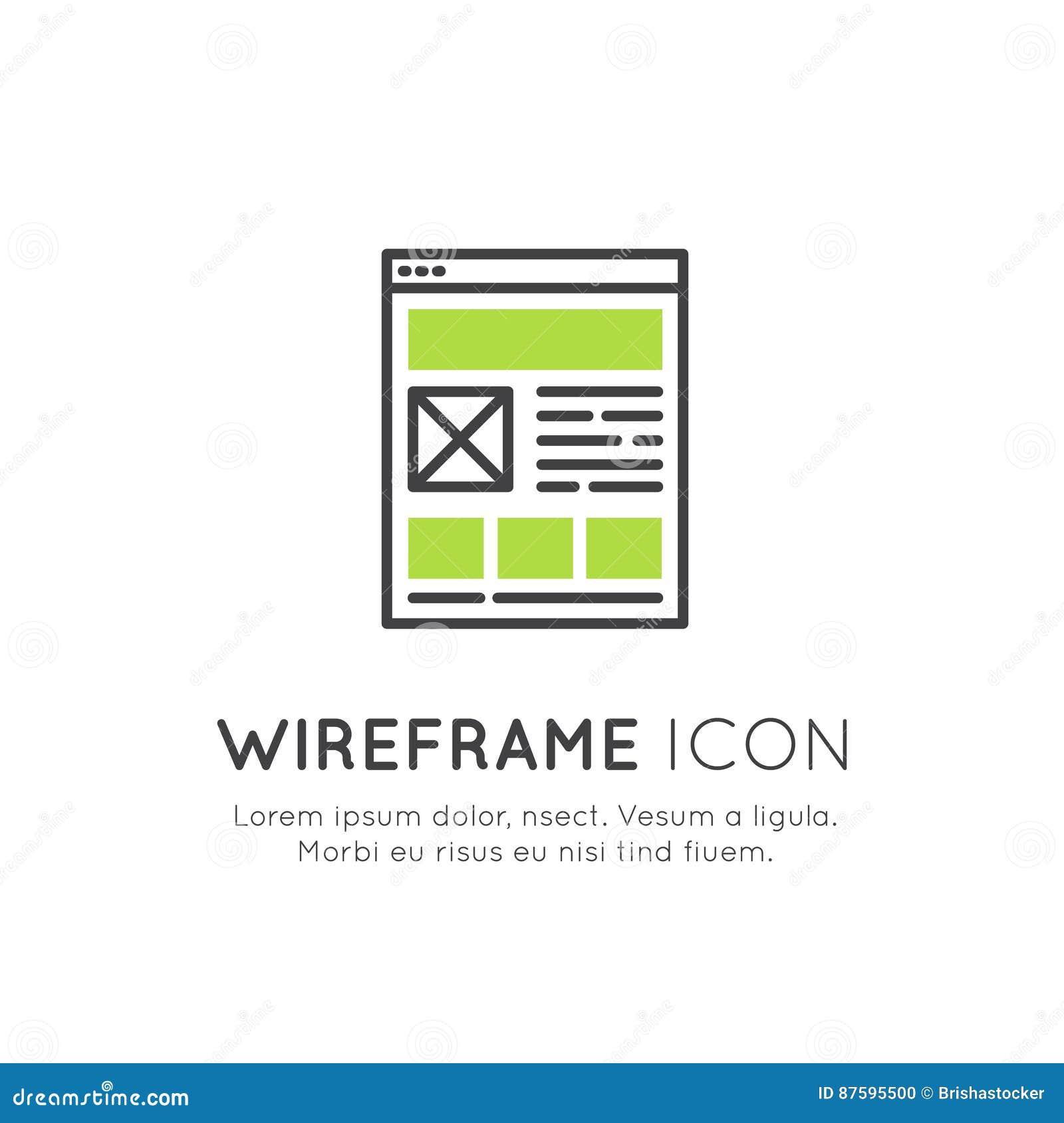 Ilustração do projeto da disposição de Wireframe, da programação da Web, da otimização de UI ou de UX, relação responsiva, rede,