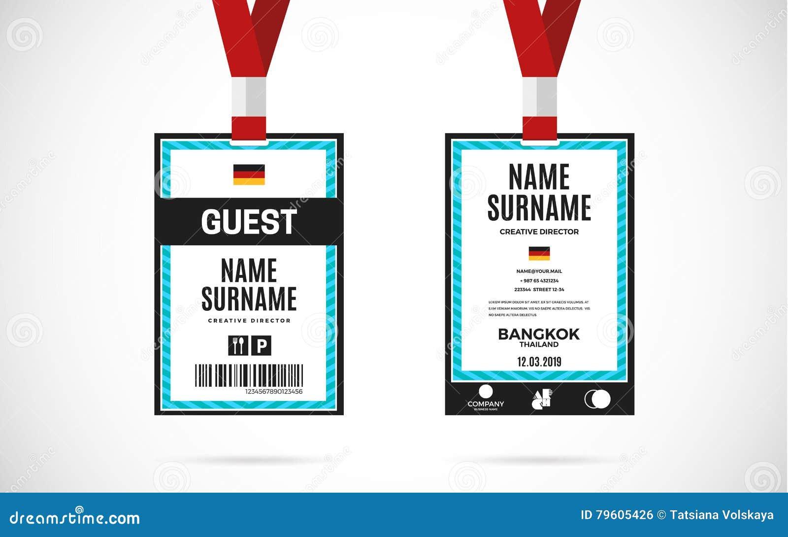 Ilustração do projeto do vetor do grupo de cartão da identificação do convidado