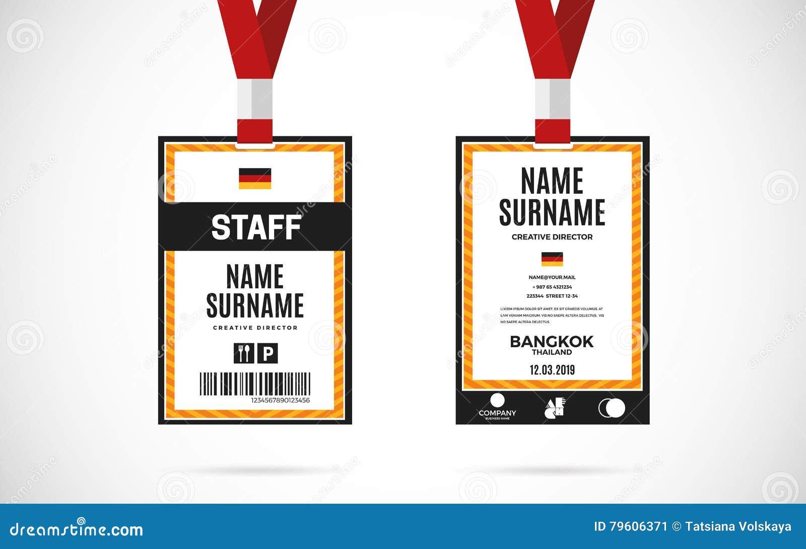 Ilustração do projeto do vetor do grupo de cartão da identificação do pessoal