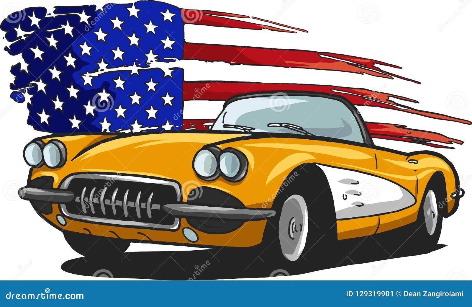Ilustração do projeto gráfico de vetor de um carro americano do músculo