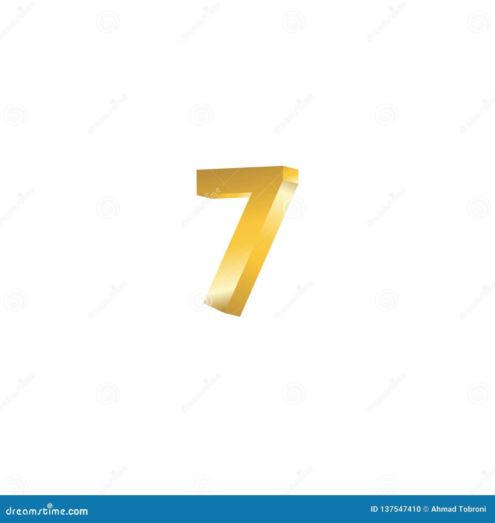 Ilustração Do Projeto Do Molde Do Vetor 3d Do Número 7 Ilustração Do