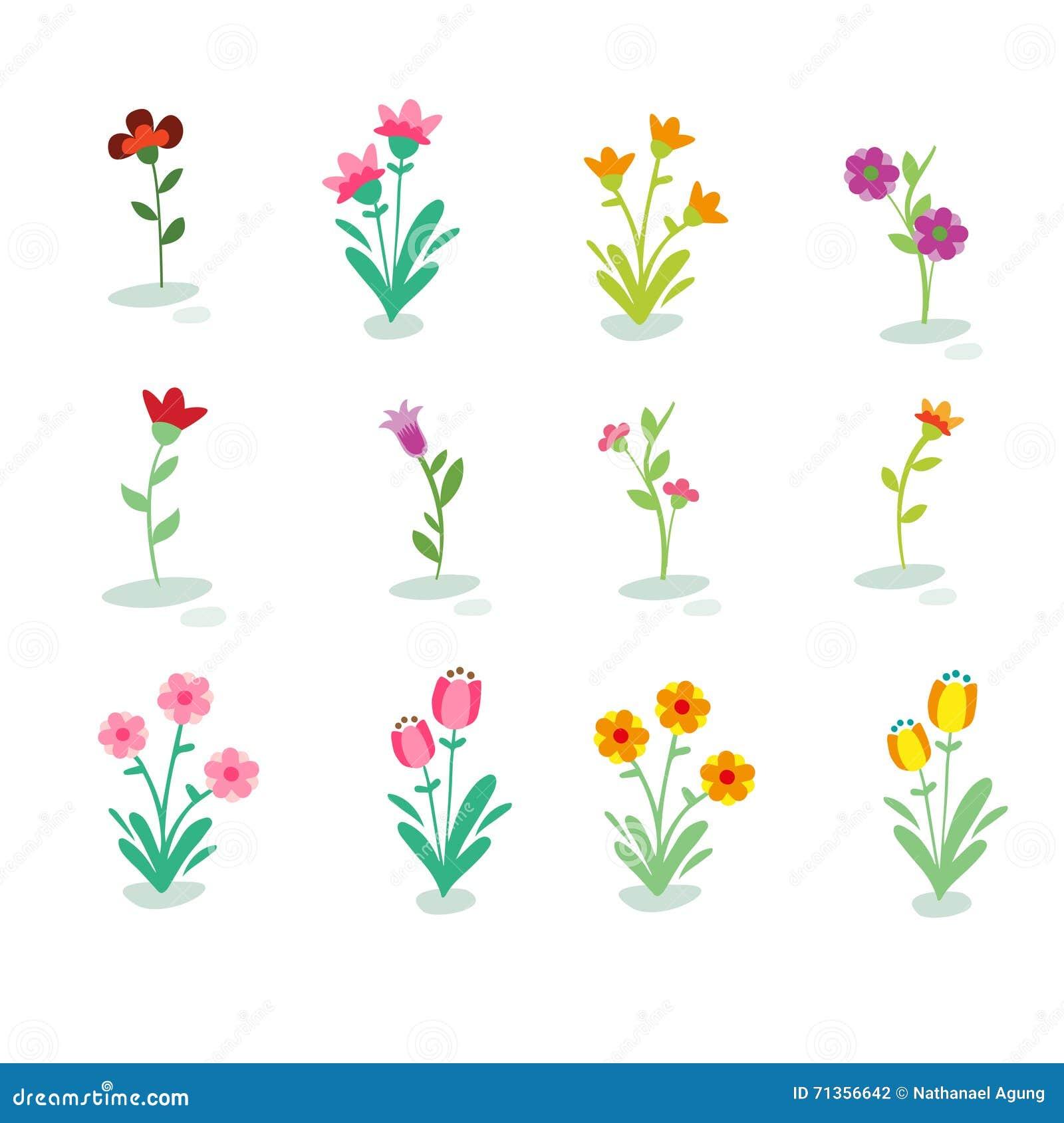 Ilustração do tipo diferente das flores