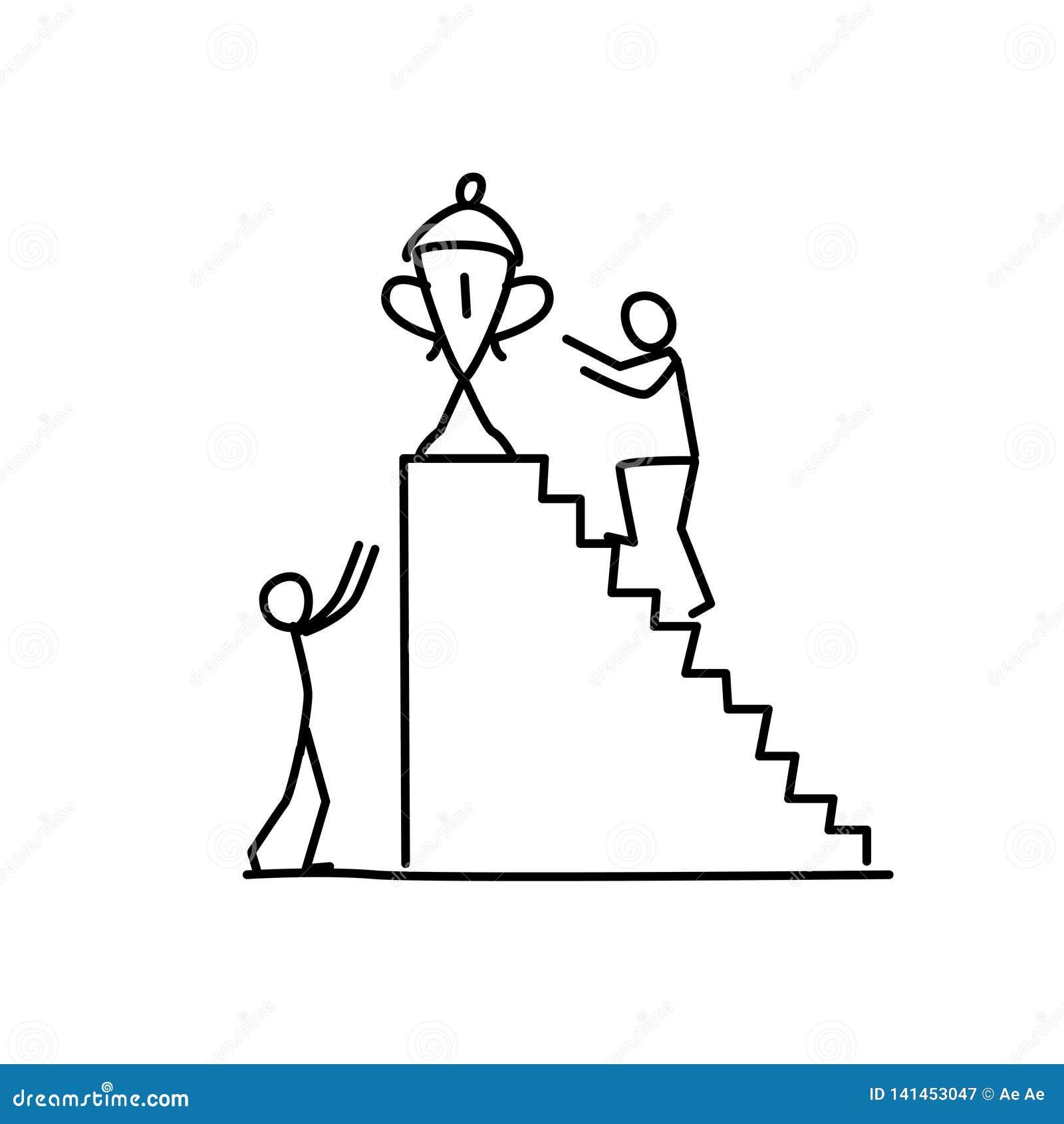 Ilustração do vencedor Vetor Obtenha à parte superior metaphor estilo linear Ilustração para o Web site ou o cartaz Competição no