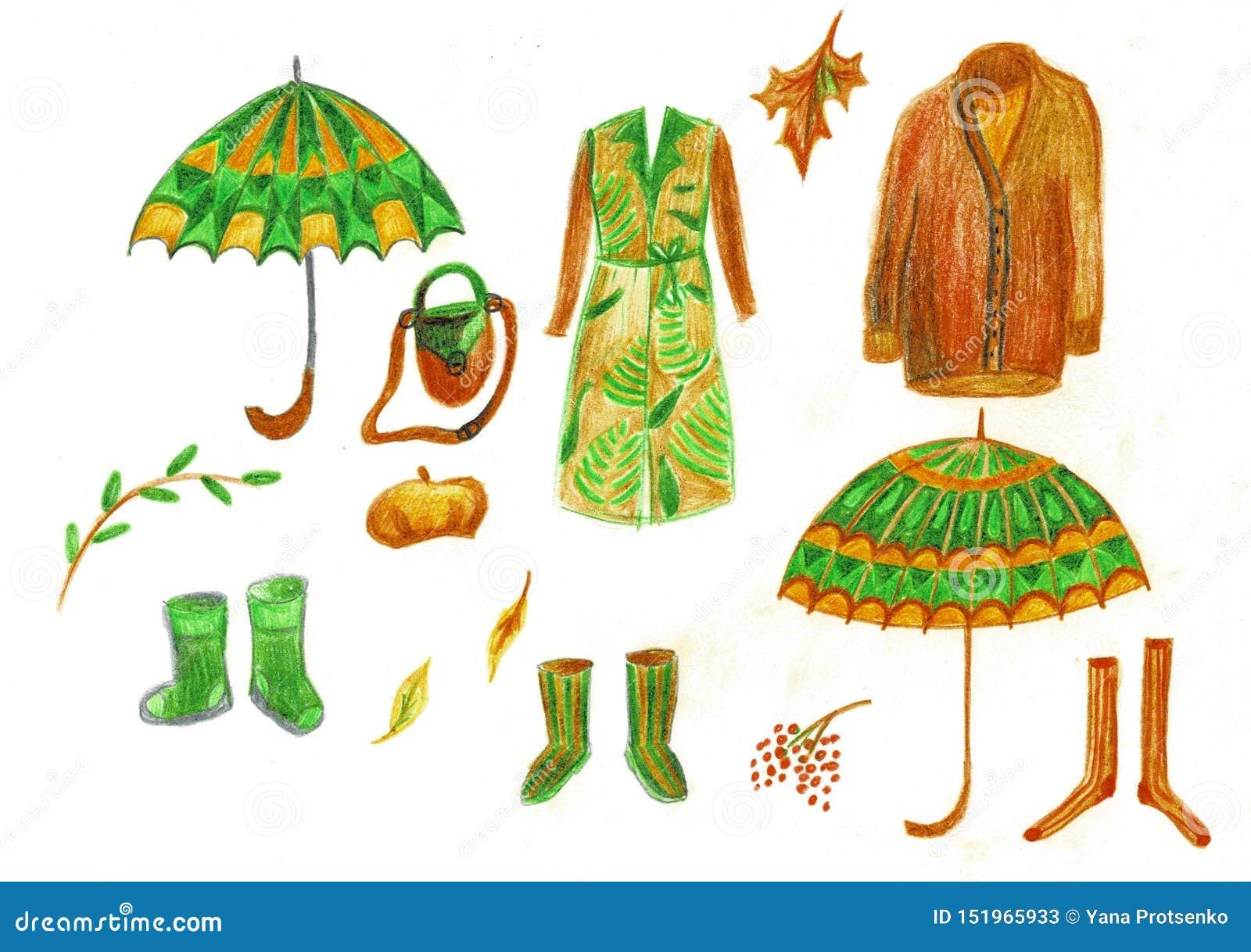 Ilustração do vestuário do inverno do outono, dos guarda-chuvas e das botas de borracha Revestimento clássico