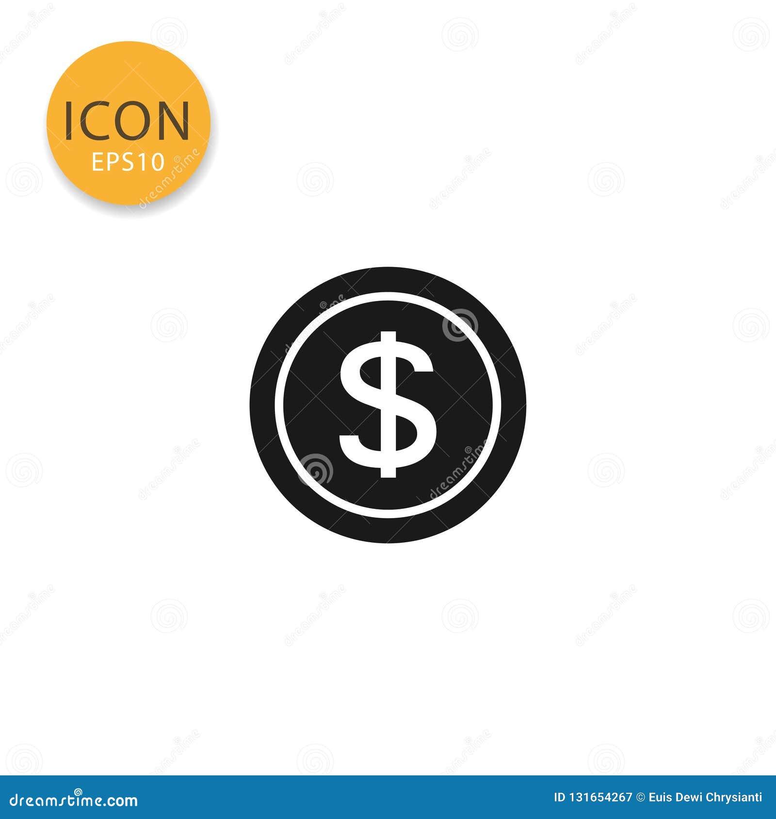 Ilustração do vetor do ícone da moeda do dólar