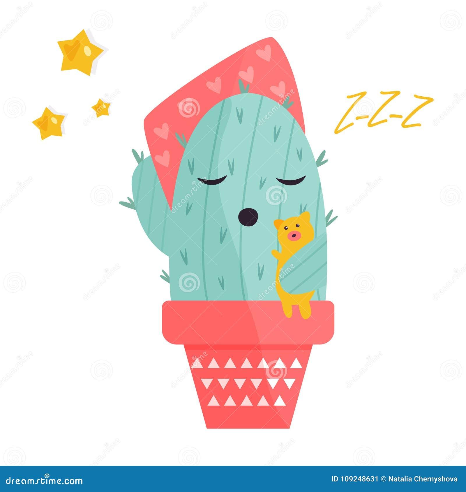 Ilustração do vetor do cacto bonito do sono