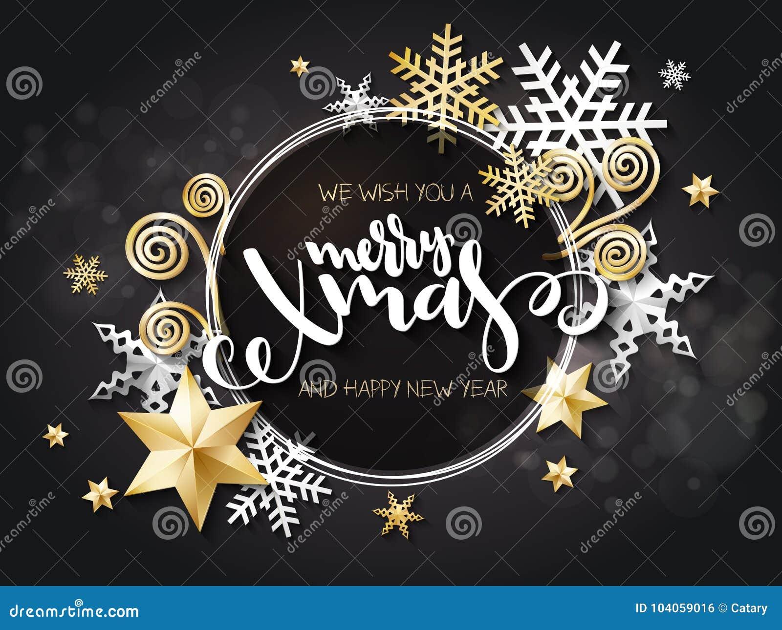 Ilustração do vetor do cartão do Natal com etiqueta da rotulação da mão - xmas alegre - com estrelas, sparkles, flocos de neve
