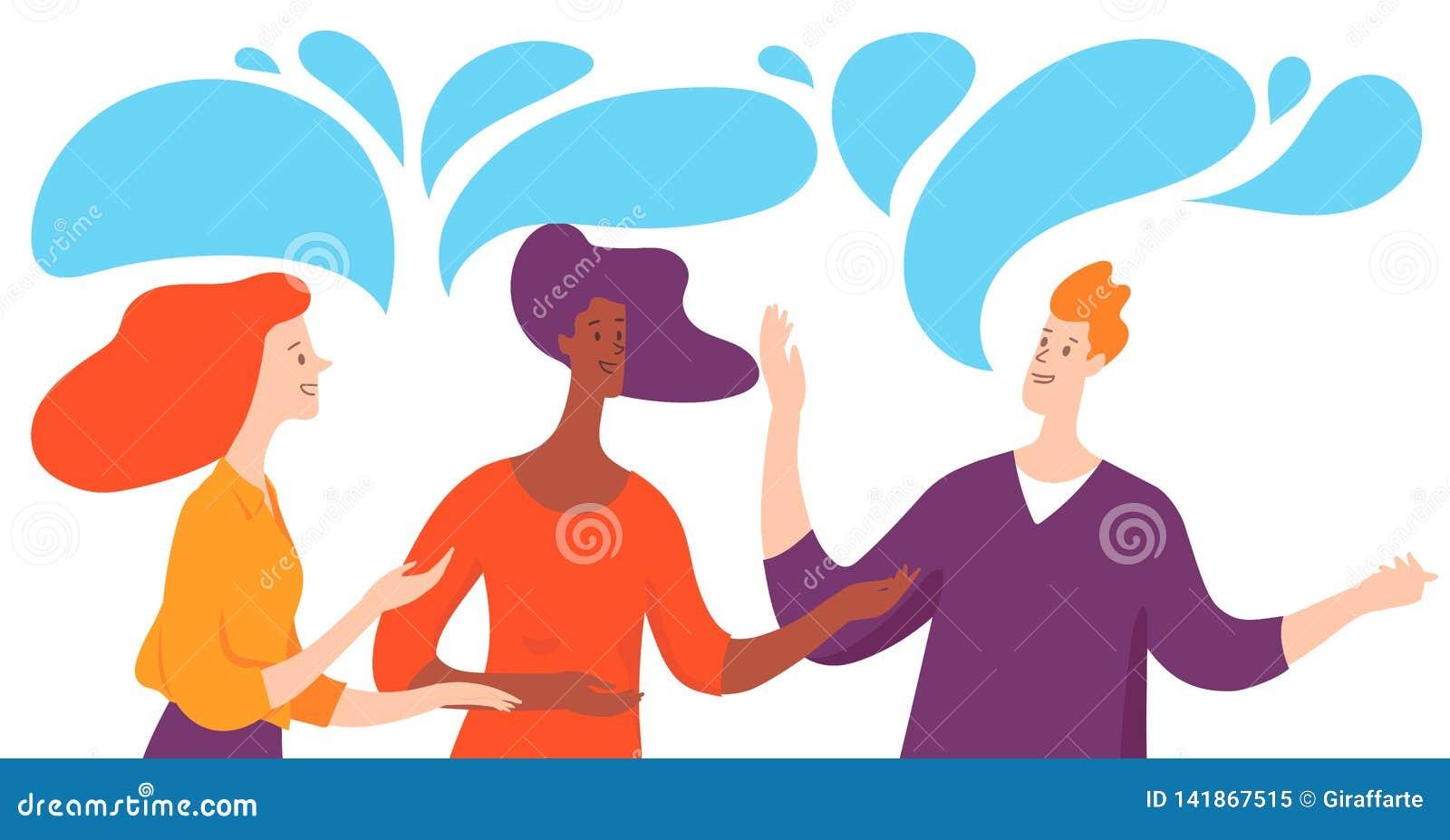 Ilustração do vetor com os três executivos que tomam a conversação