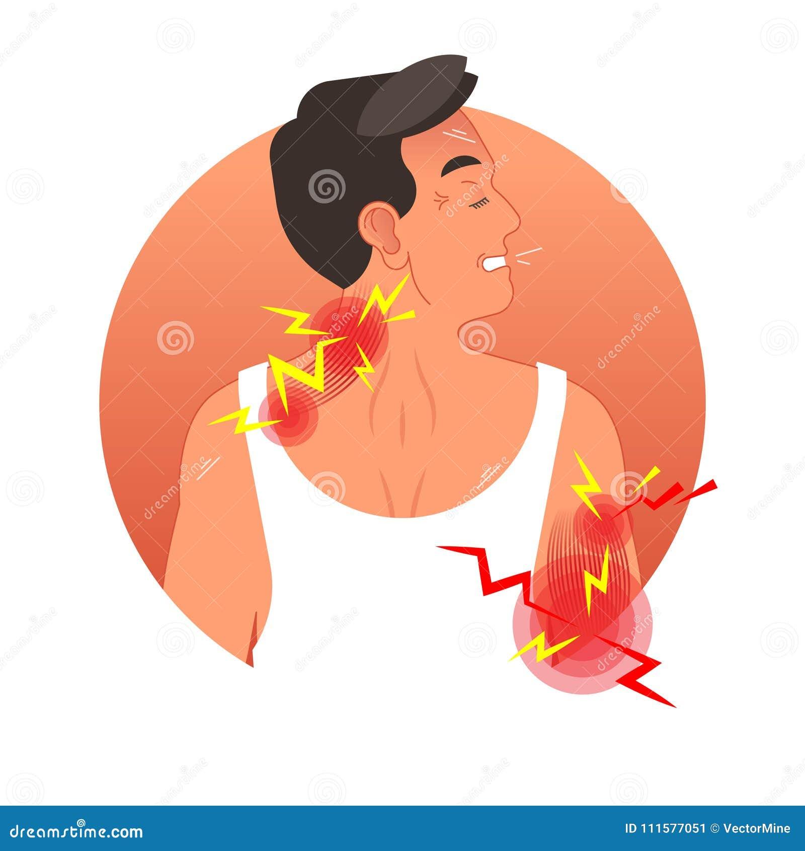 Ilustração do vetor do conceito da dor de músculo com torso humano Segurança do trabalho e ferimento dos esportes